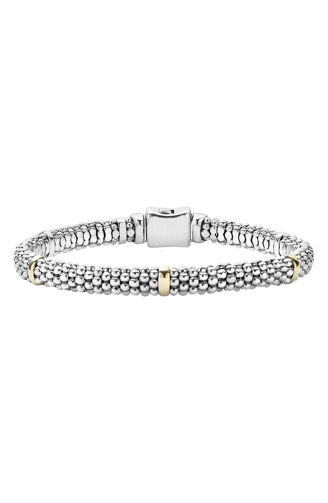 Caviar<sup>™</sup> Rope Station Bracelet,                         Main,                         color, Sterling Silver / Gold