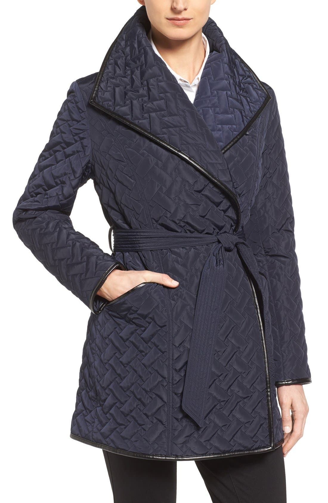 Alternate Image 1 Selected - Cole Haan Signature Water Resistant Quilted Wrap Coat
