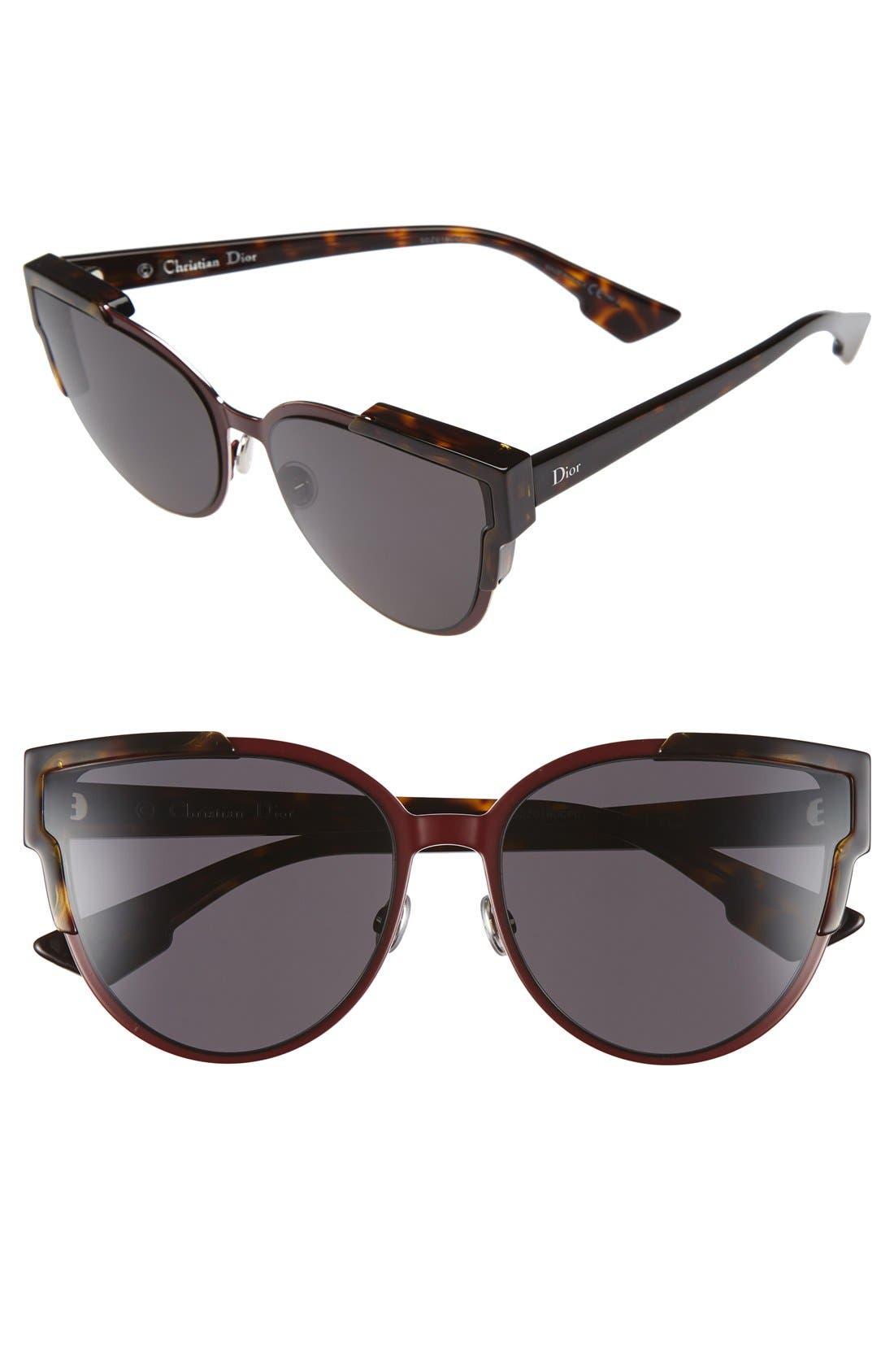 Wildly Dior 60mm Cat Eye Sunglasses,                         Main,                         color, Havana/ Brown/ Green/ Havana