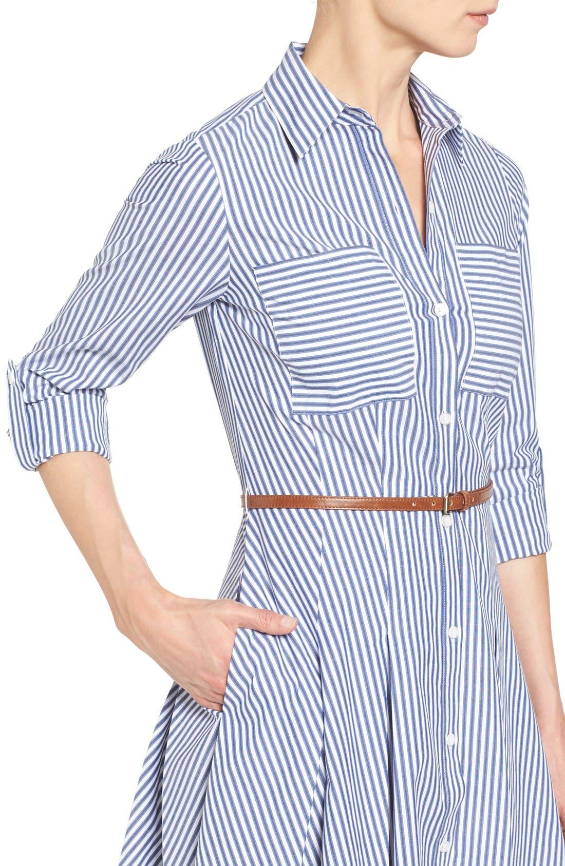 Alternate Image 4  - MICHAEL Michael Kors Belted Stripe Stretch Cotton Shirtdress