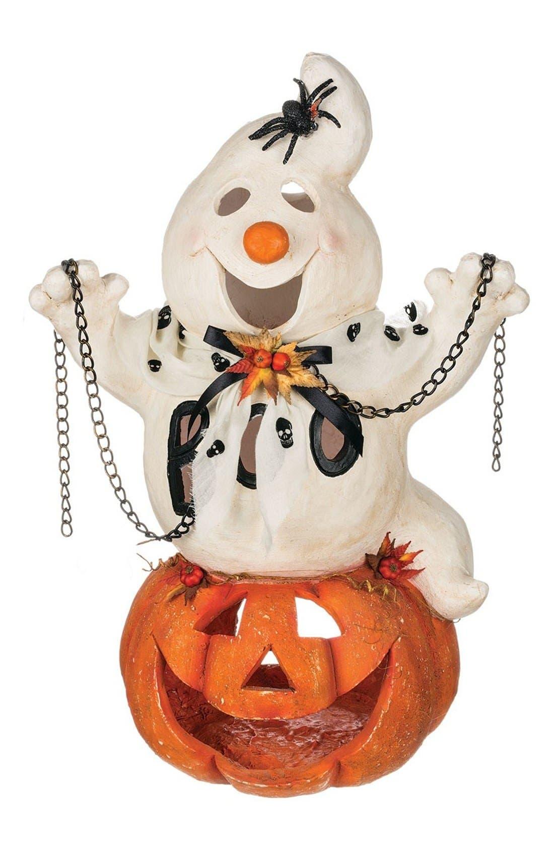 'Ghost & Jack O' Lantern' Halloween Decoration,                         Main,                         color, White/ Orange