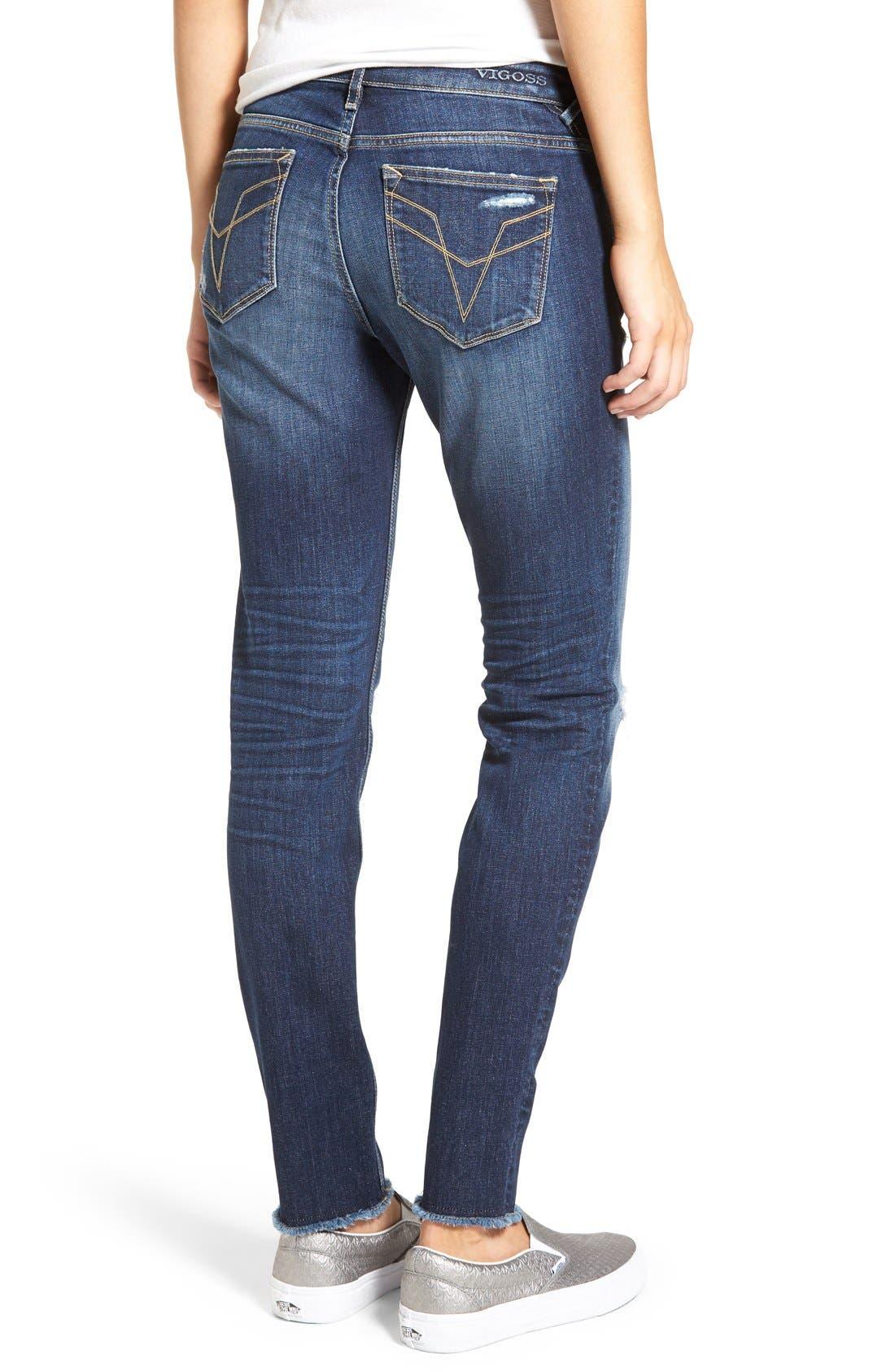 Alternate Image 2  - Vigoss 'Chelsea' Frayed Hem Skinny Jeans