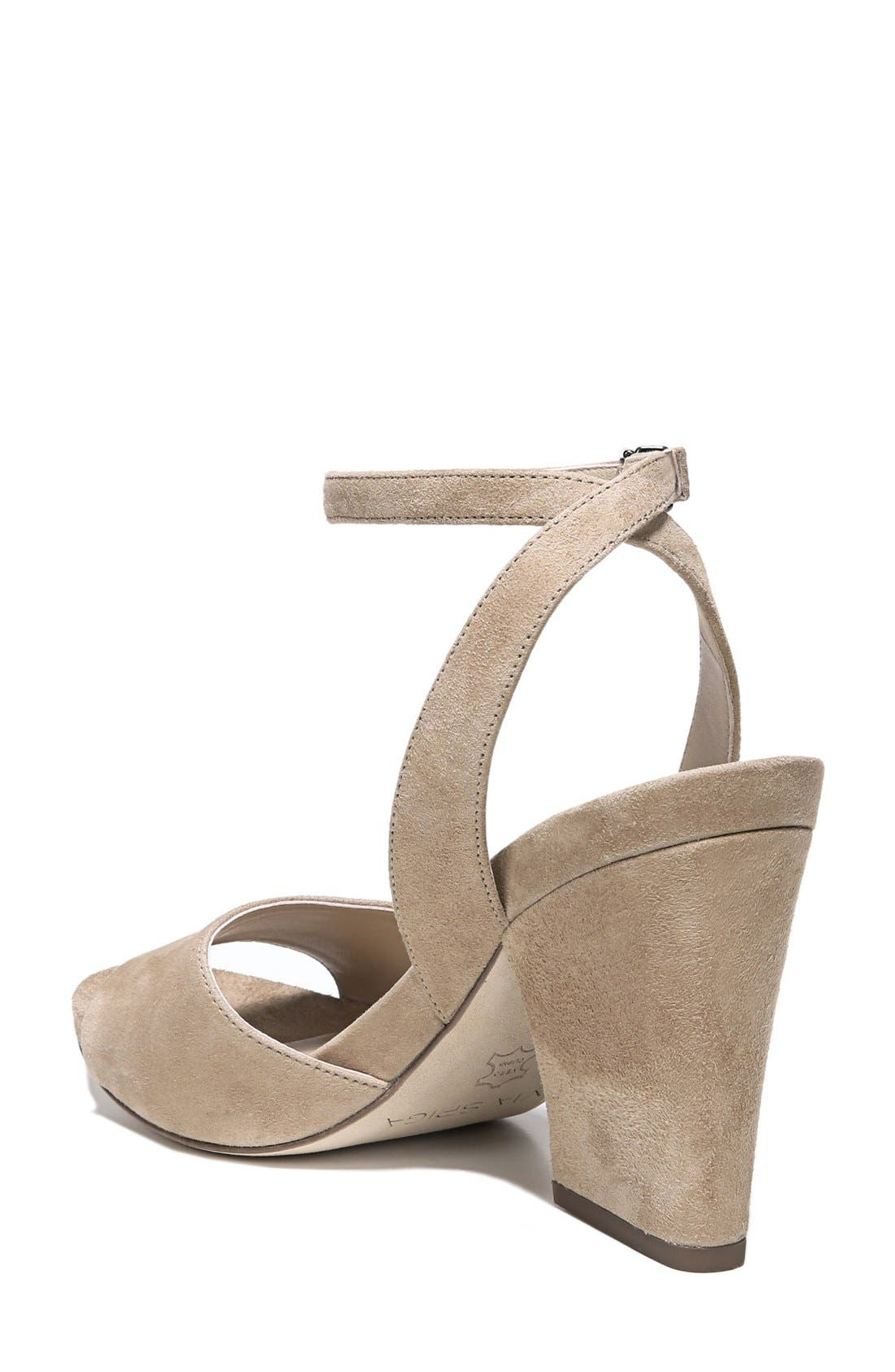 'Piper' Ankle Strap Sandal,                             Alternate thumbnail 2, color,                             Light Camel Suede
