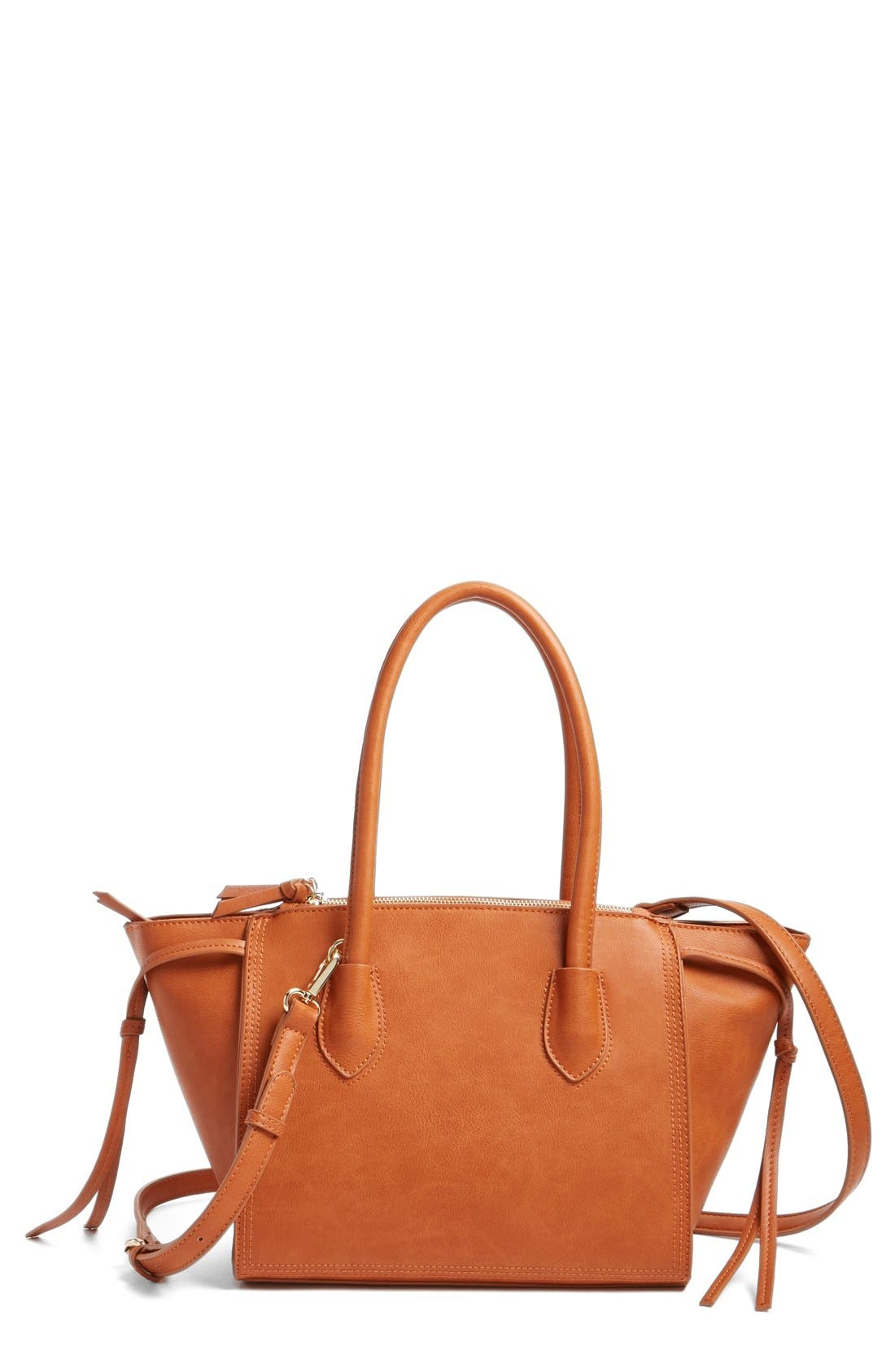 'Farris' Faux Leather Winged Satchel,                             Main thumbnail 1, color,                             Cognac