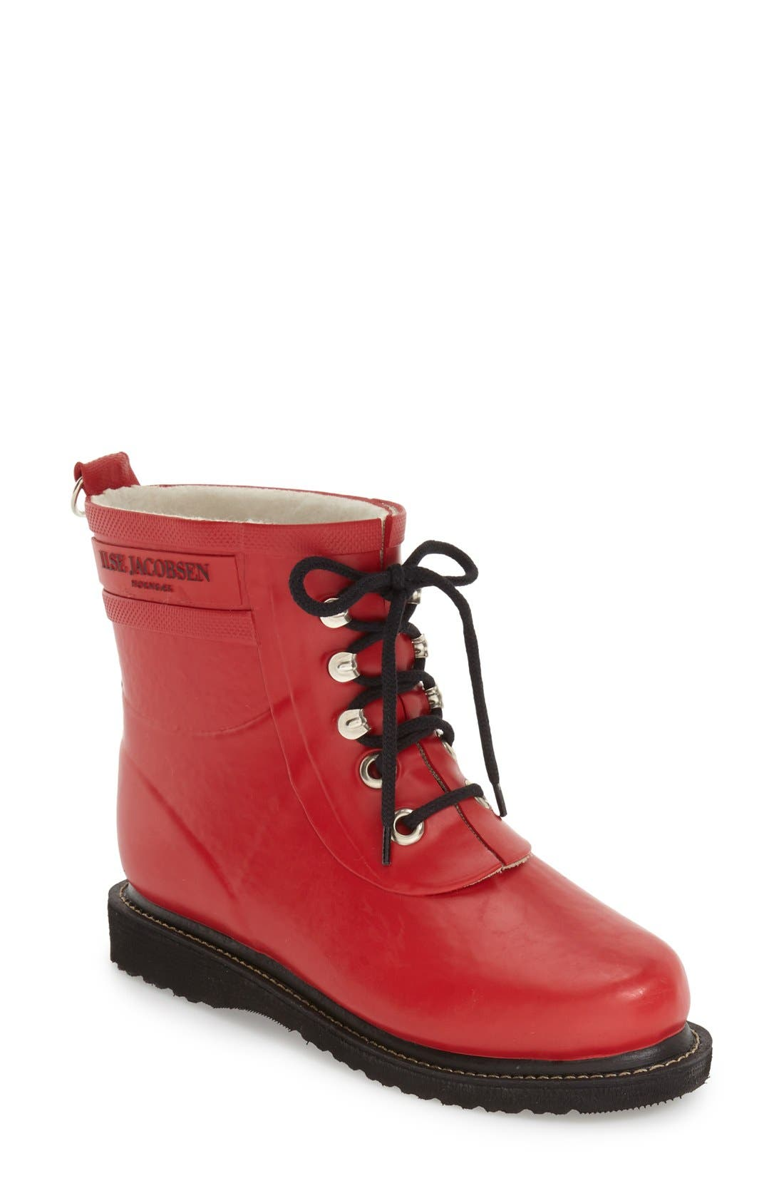 ILSE JACOBSEN 'Rub' Boot in Deep Red