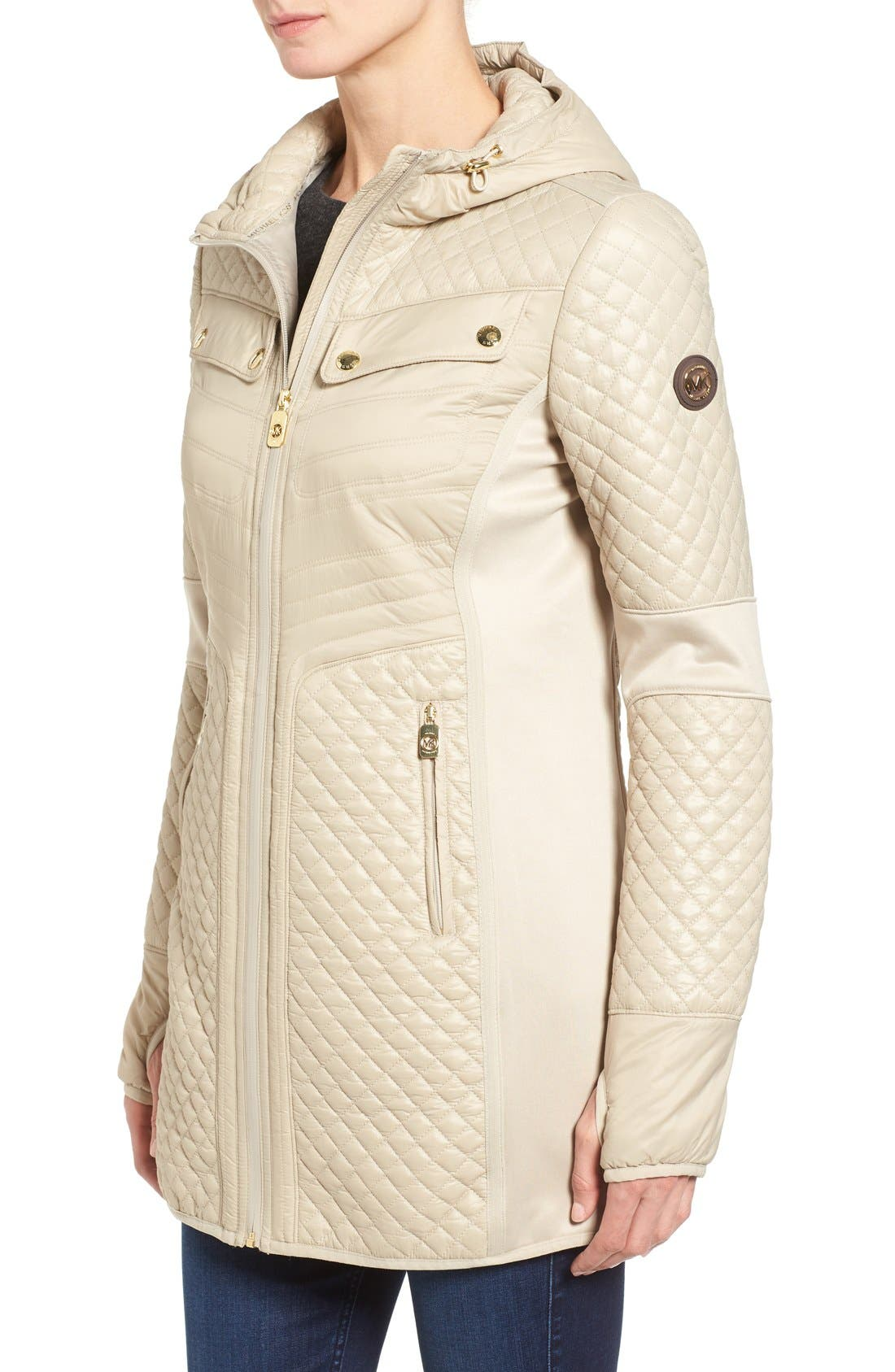 Mixed Media Hooded Zip Front Coat,                             Alternate thumbnail 3, color,                             Khaki