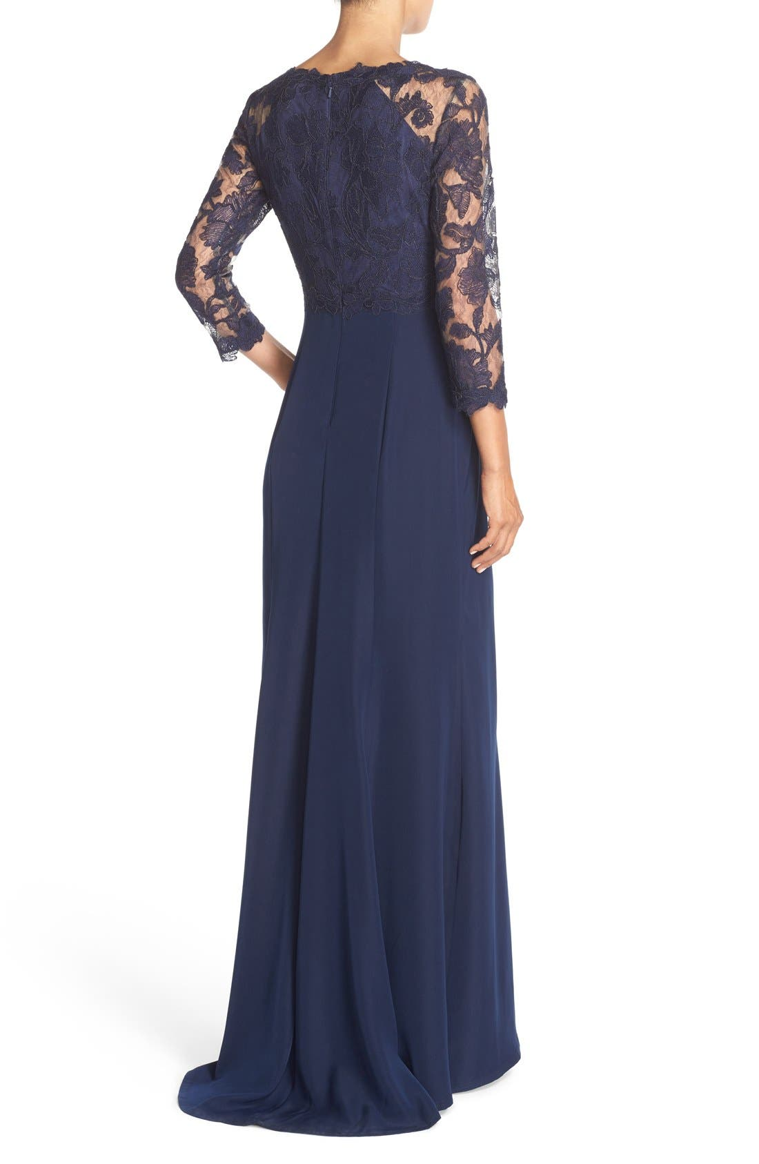 Alternate Image 2  - Tadashi Shoji Embroidered Lace Gown (Regular & Petite)