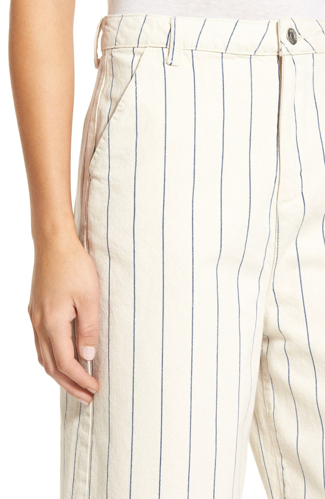 Alternate Image 4  - Topshop Pinstripe Frayed Culottes