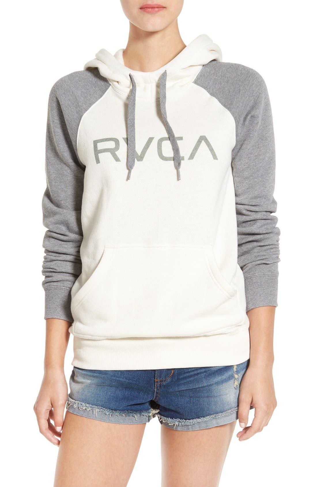 Alternate Image 1 Selected - RVCA Raglan Sleeve Logo Hoodie
