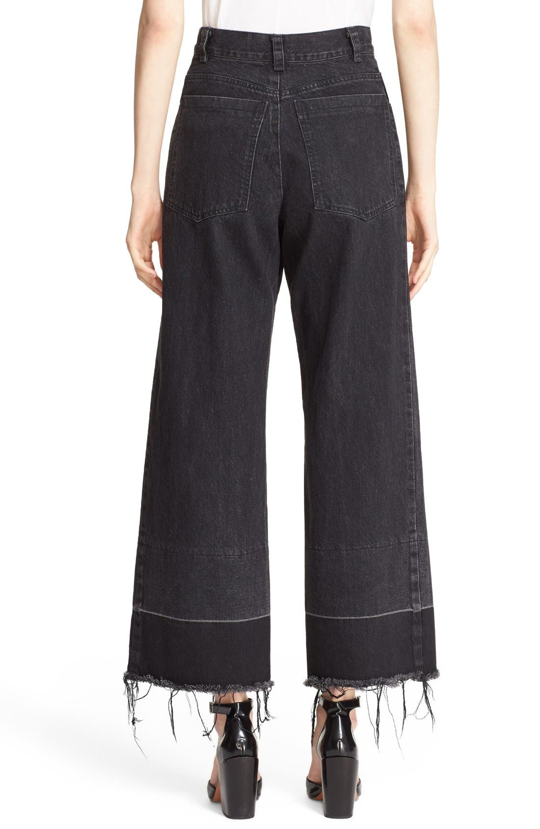 Legion Wide Leg Denim Pants,                             Alternate thumbnail 3, color,                             Washed Black