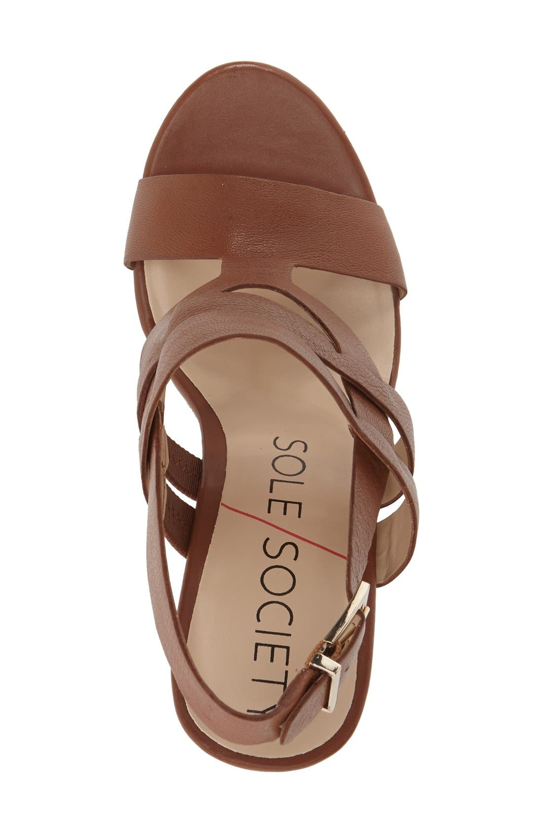 'Jenny' Slingback Wedge Sandal,                             Alternate thumbnail 3, color,                             Equestrian Tan