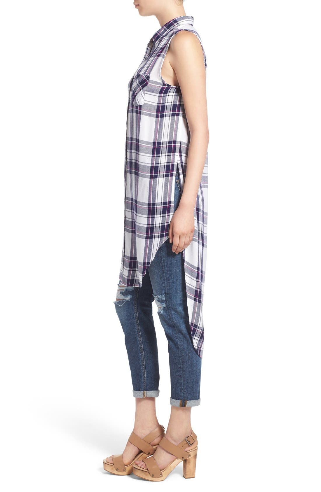 'Jordyn' Sleeveless Plaid Tunic,                             Alternate thumbnail 3, color,                             White/ Navy/ Orchid