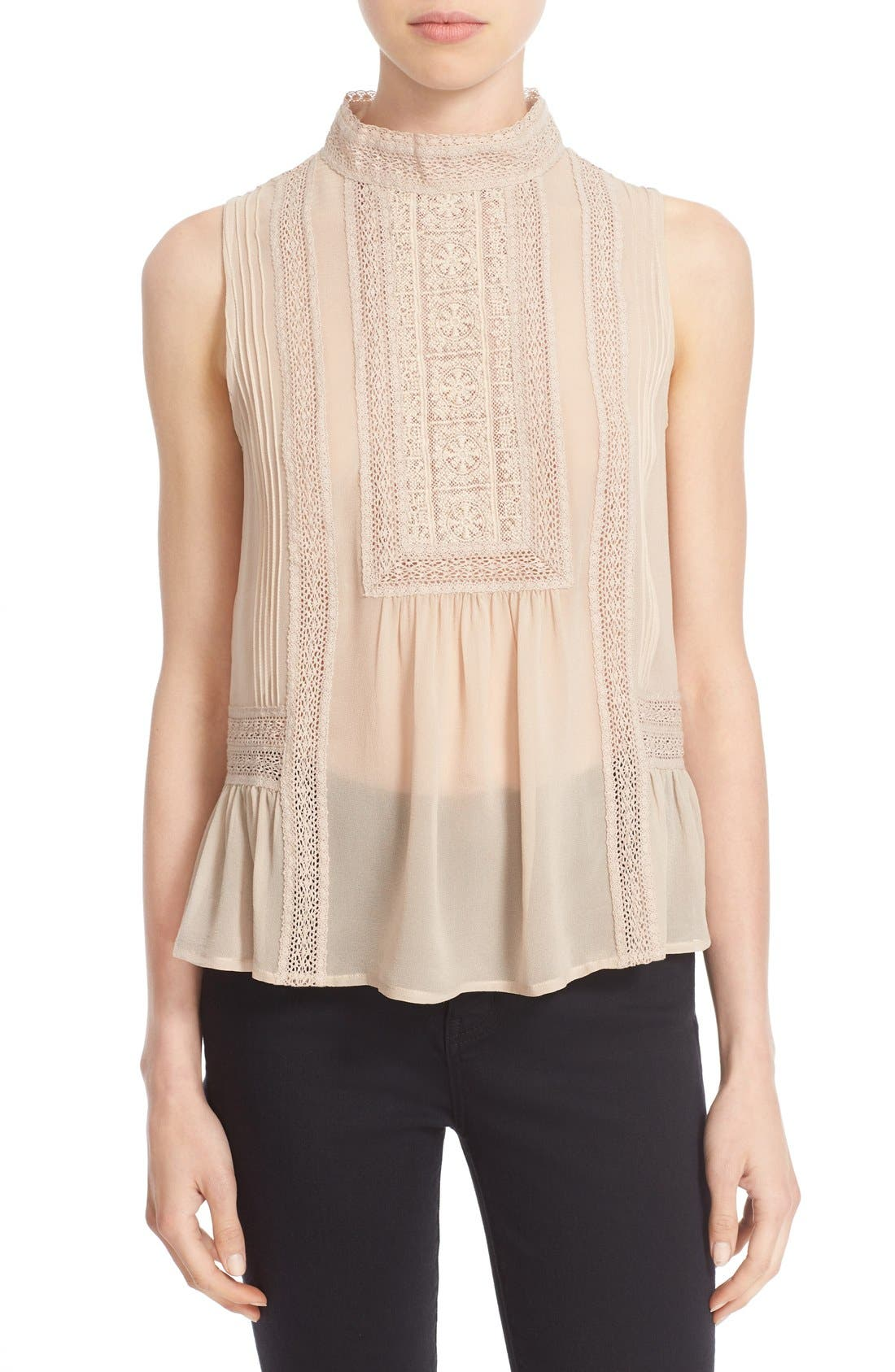 Alternate Image 1 Selected - Joie Lace Trim Sleeveless Silk Blouse