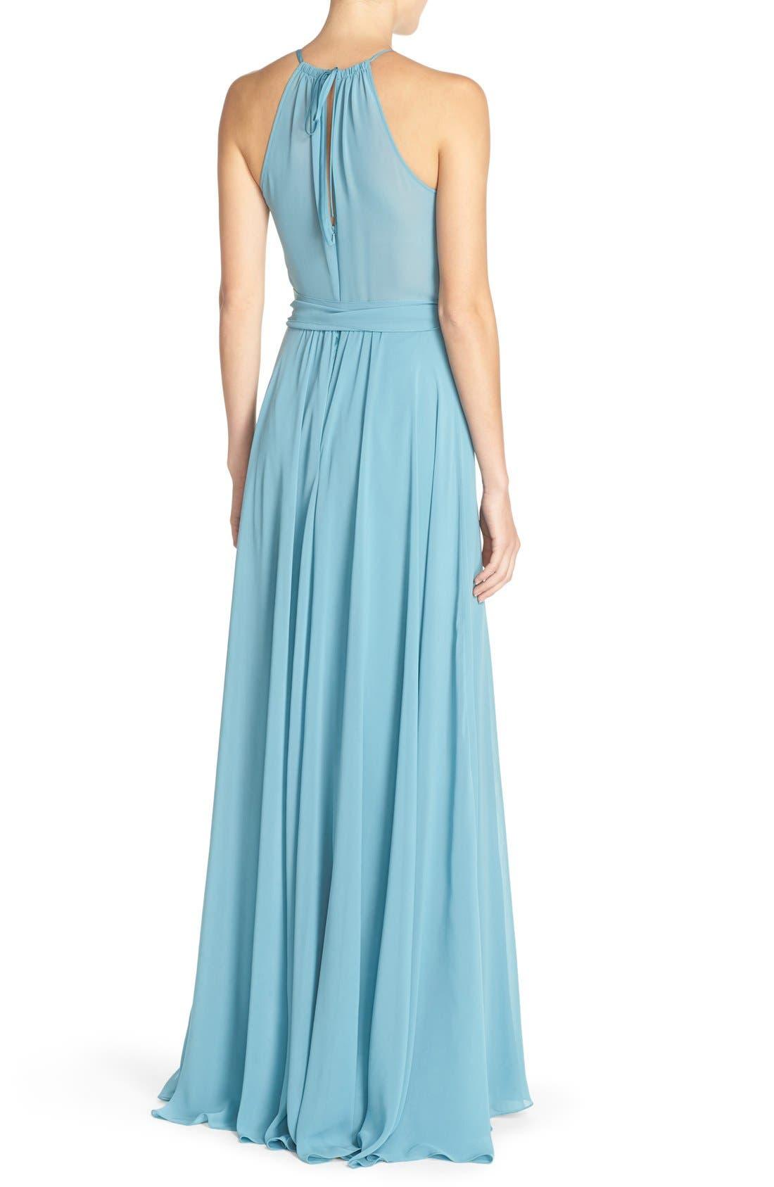 'Delaney' Belted A-Line Chiffon Halter Dress,                             Alternate thumbnail 2, color,                             Teal
