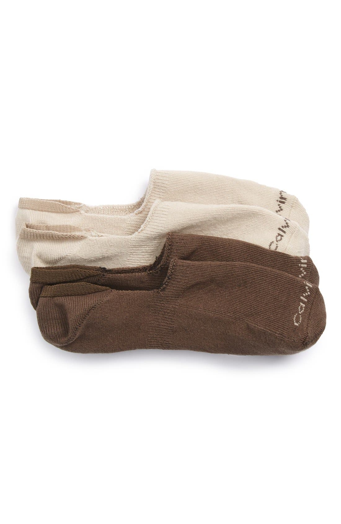 2-Pack Performance No-Show Socks,                         Main,                         color, Wood Heather