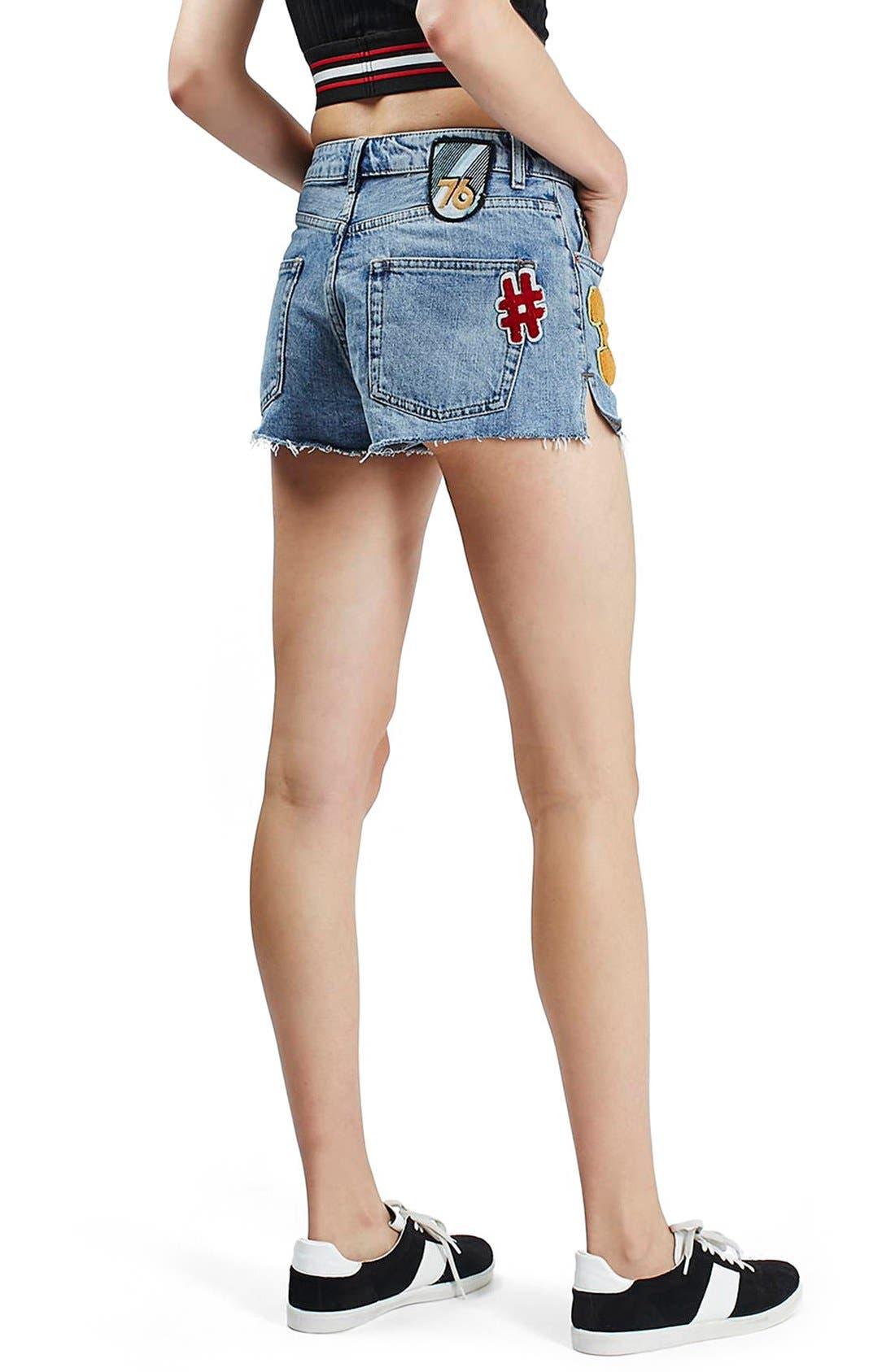 Alternate Image 3  - Topshop Badge Detail Cutoff Denim Shorts (Regular & Petite)