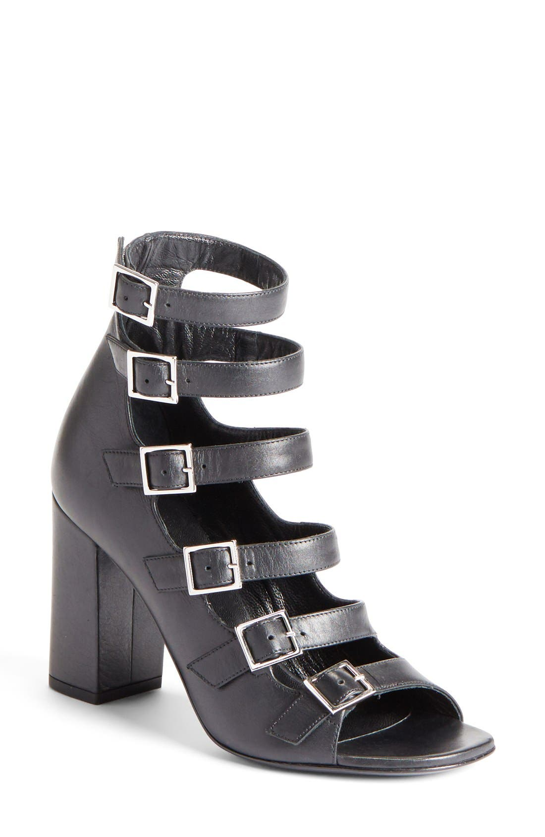 'Babies' Buckle Strap Sandal,                         Main,                         color, Black Leather