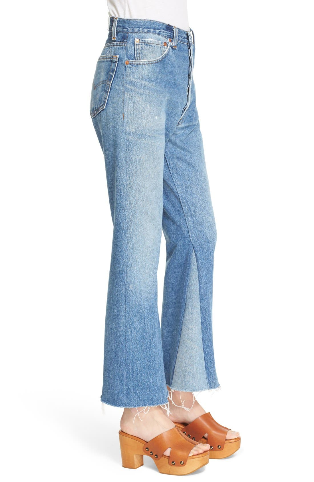 The Leandra Reconstructed High Waist Crop Flare Jeans,                             Alternate thumbnail 3, color,                             No Destruction