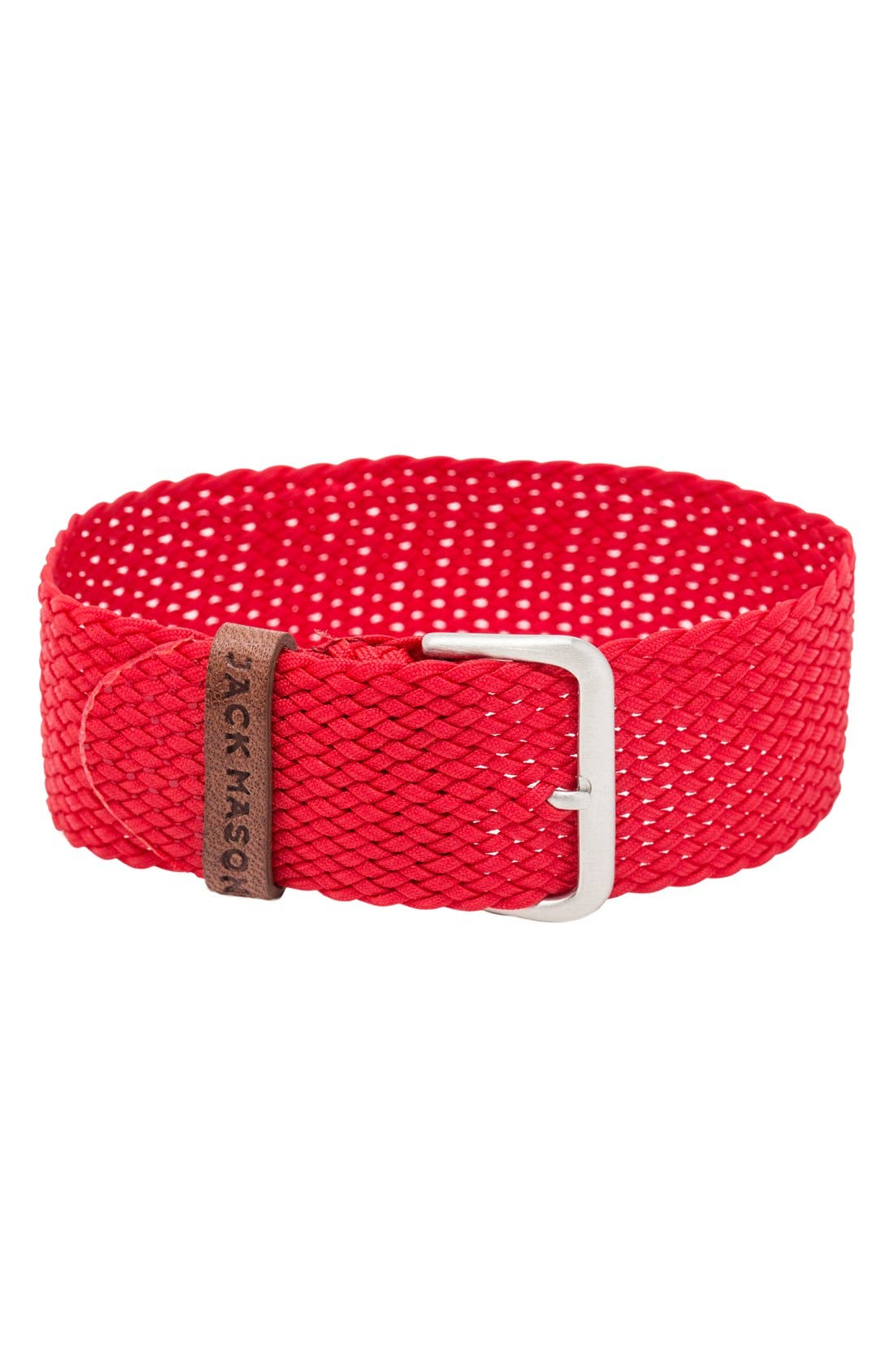 Nylon Strap with Leather Keeper, 22mm,                             Alternate thumbnail 2, color,                             Red