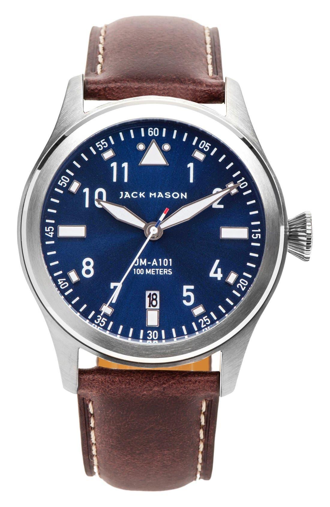JACK MASON Aviator Leather Strap Watch, 42mm