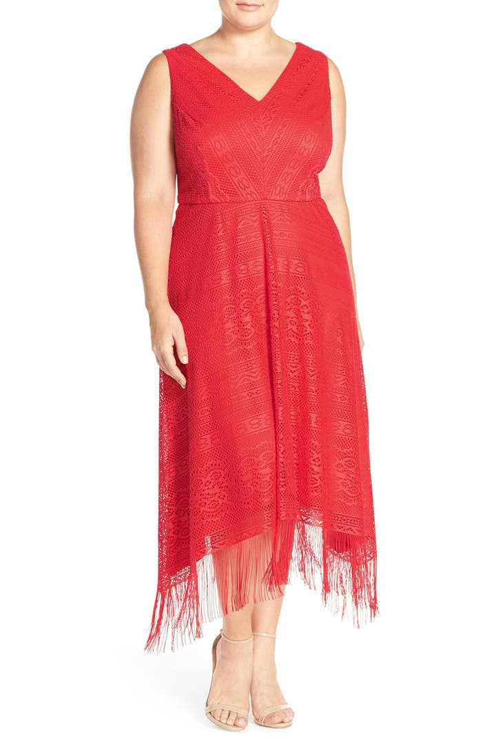 London Times Fringe Lace Midi Dress Plus Size Nordstrom