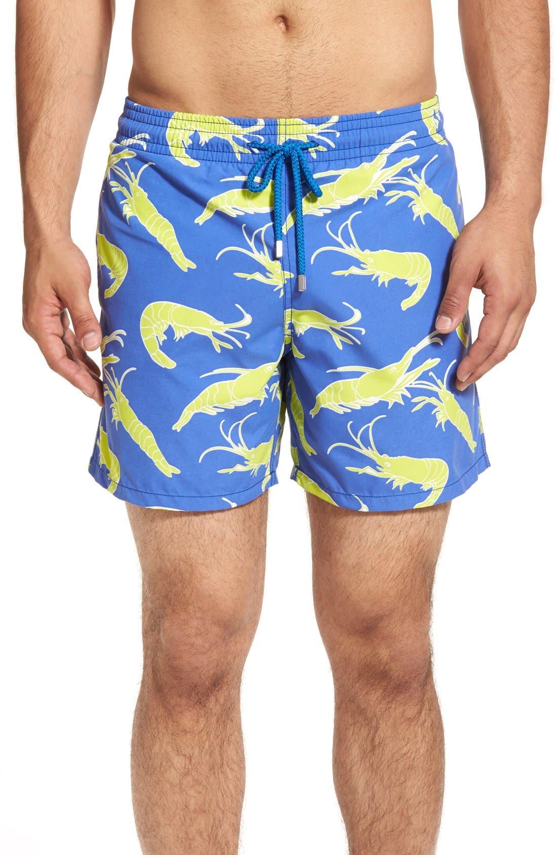 'Moorea' Shrimp Swim Trunks,                             Main thumbnail 1, color,                             Celestial Blue