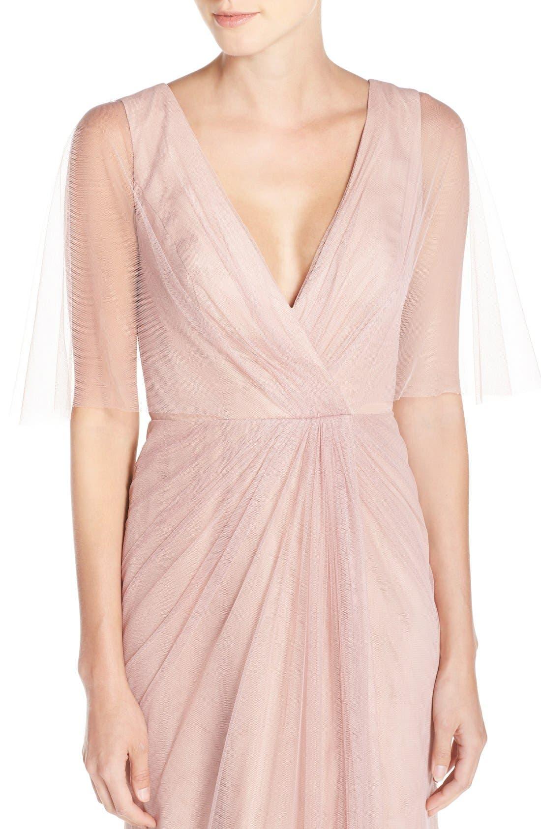 Alternate Image 4  - Monique Lhuillier Bridesmaids Sheer Capelet V-Neck Tulle A-Line Gown
