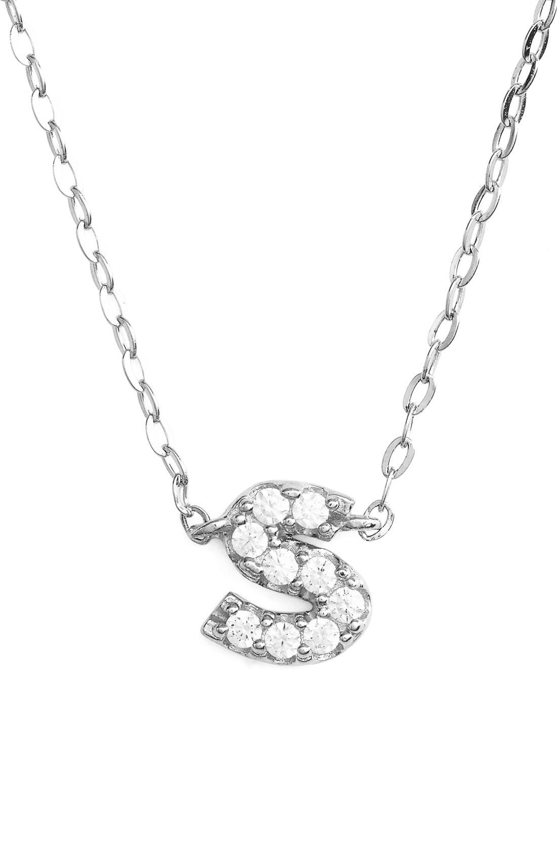Cubic Zirconia Initial Pendant Necklace,                         Main,                         color, S Silver