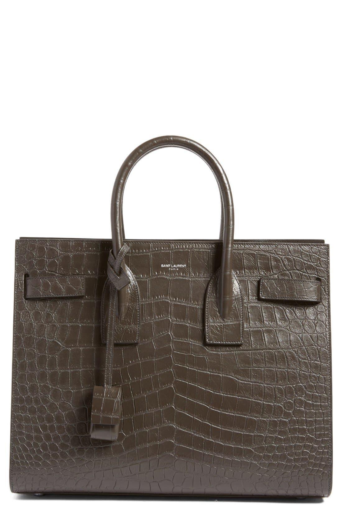Main Image - Saint Laurent 'Small Sac de Jour' Croc Embossed Leather Tote