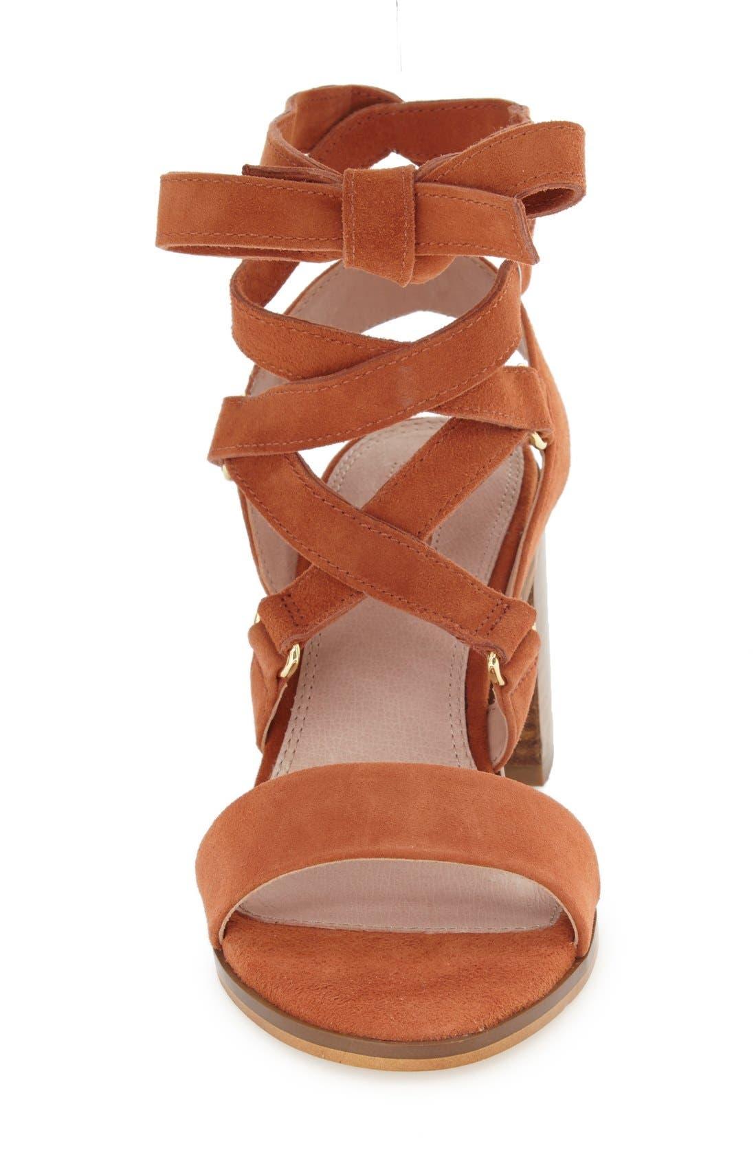 'Nadra' Lace-Up Sandal,                             Alternate thumbnail 3, color,                             Orange Suede