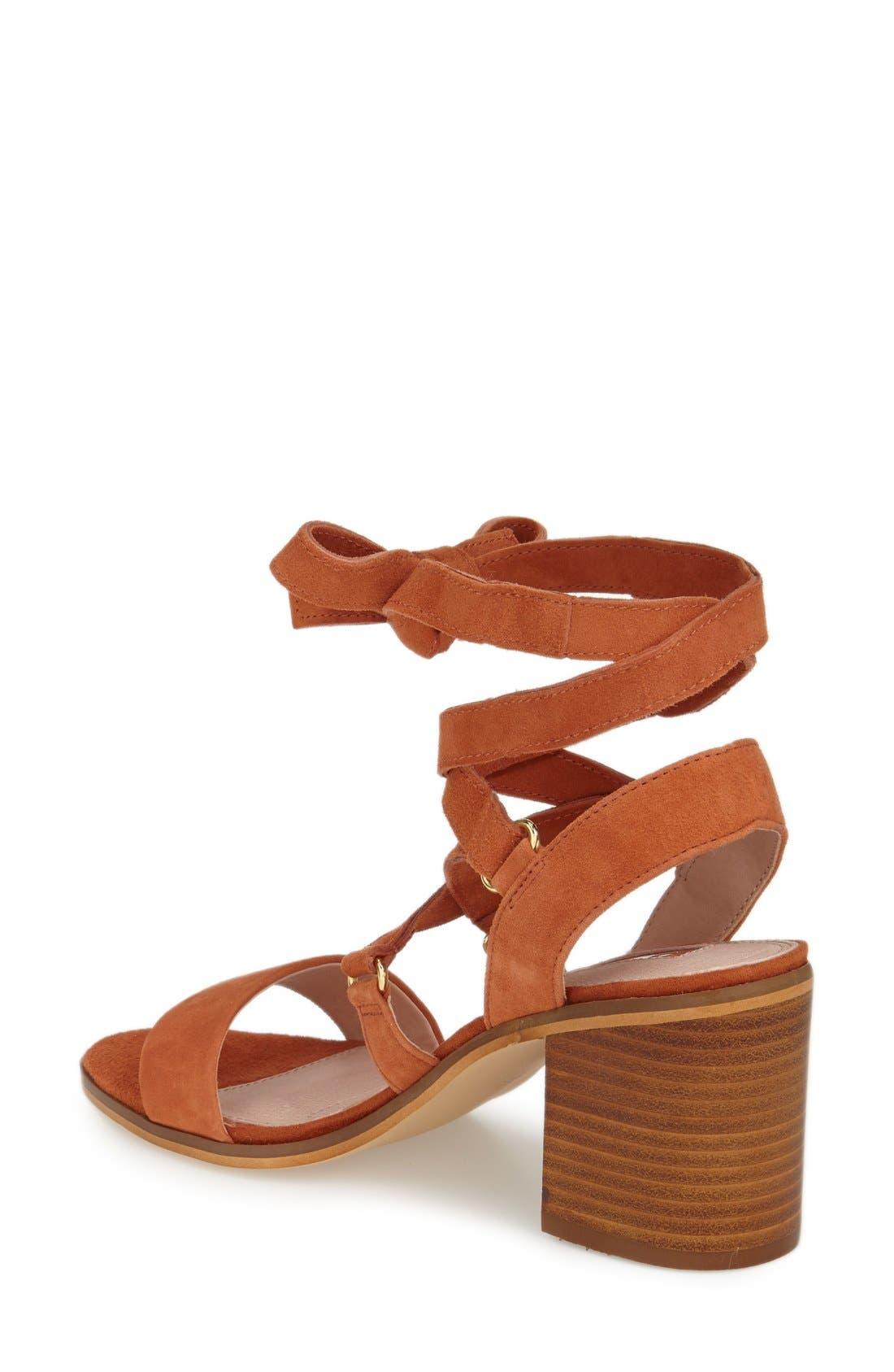 'Nadra' Lace-Up Sandal,                             Alternate thumbnail 2, color,                             Orange Suede
