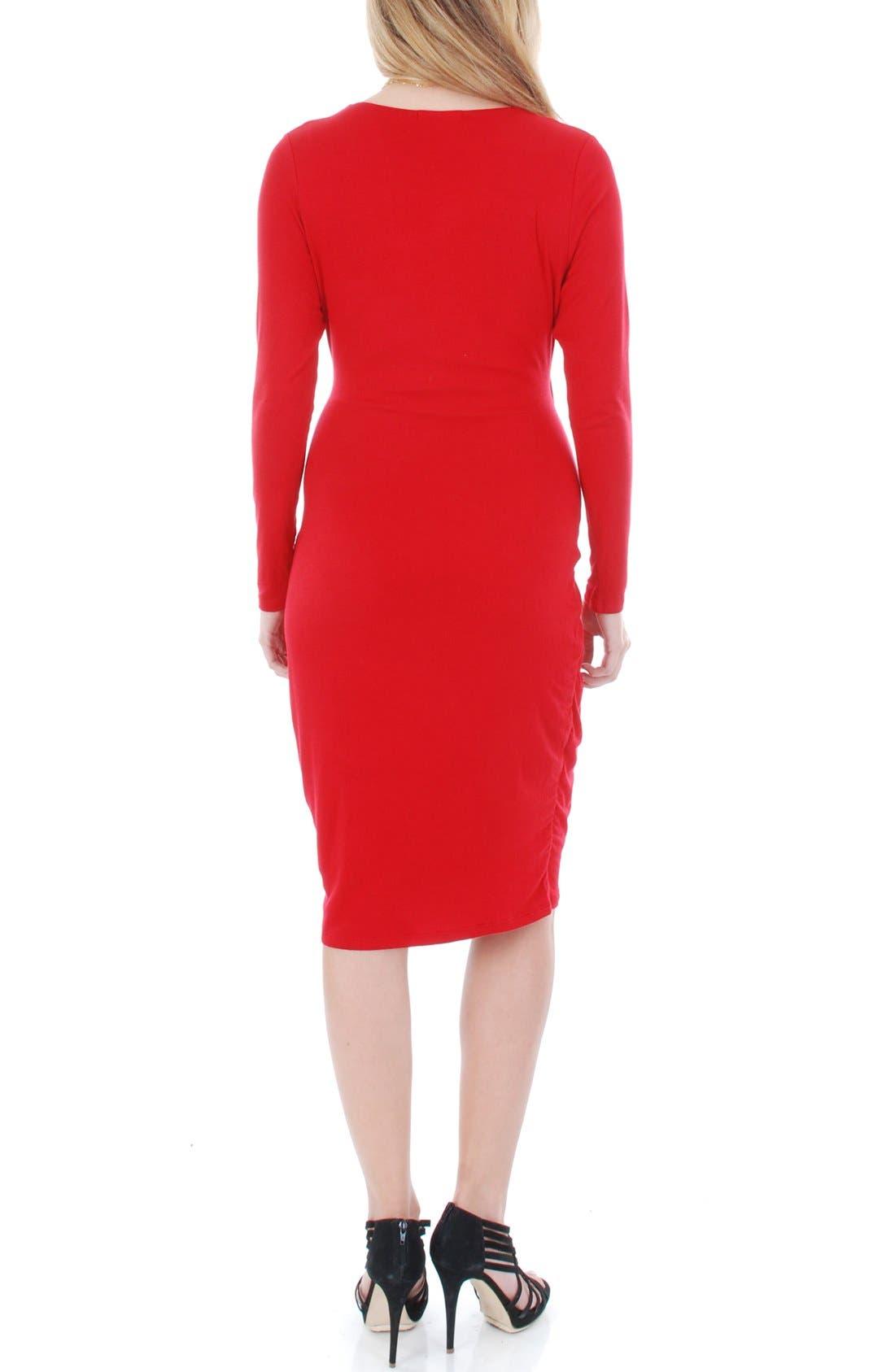 'Sloan' Maternity/Nursing Dress,                             Alternate thumbnail 3, color,                             Crimson