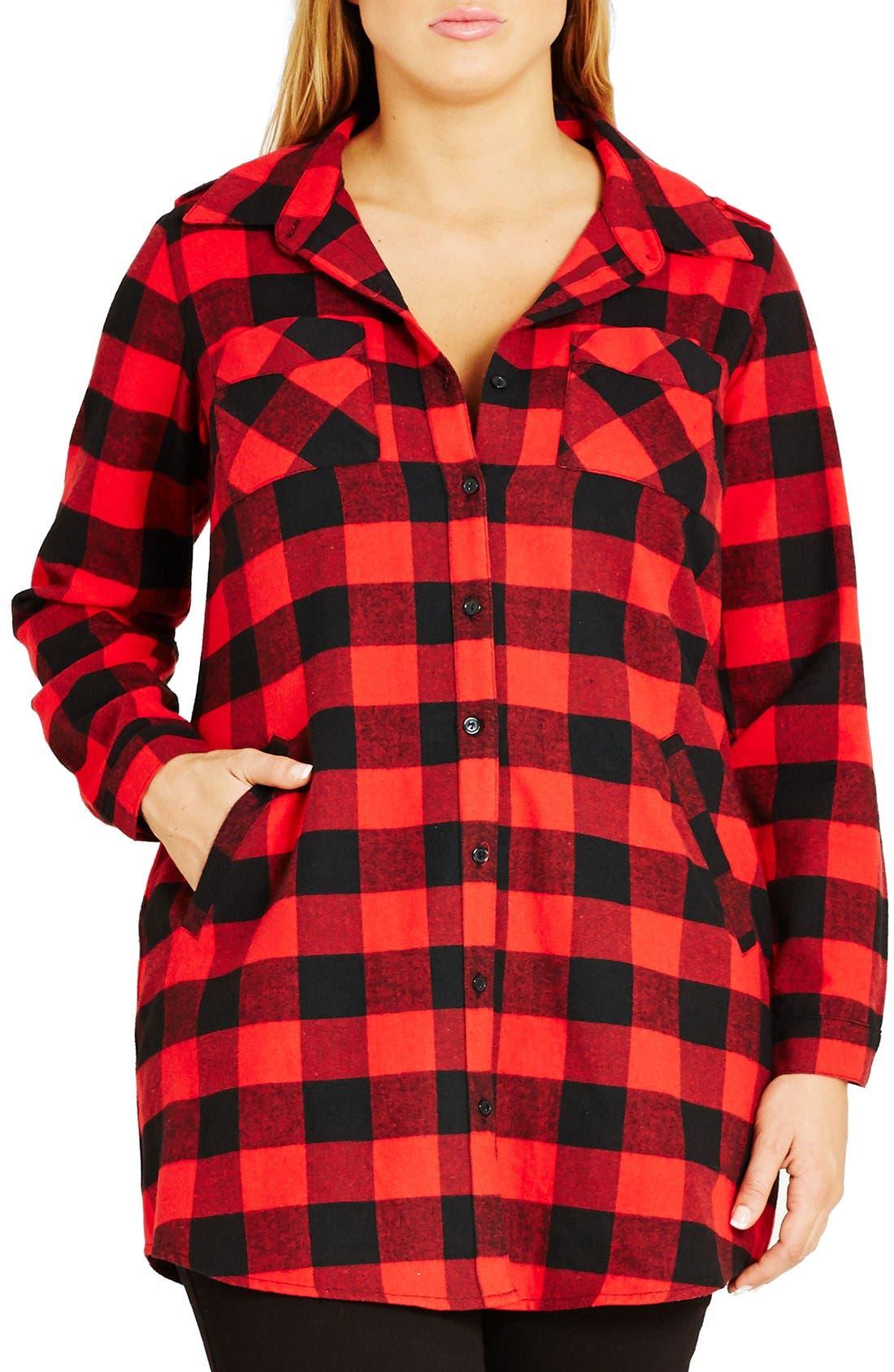 Main Image - City Chic Plaid Boyfriend Shirt (Plus Size)