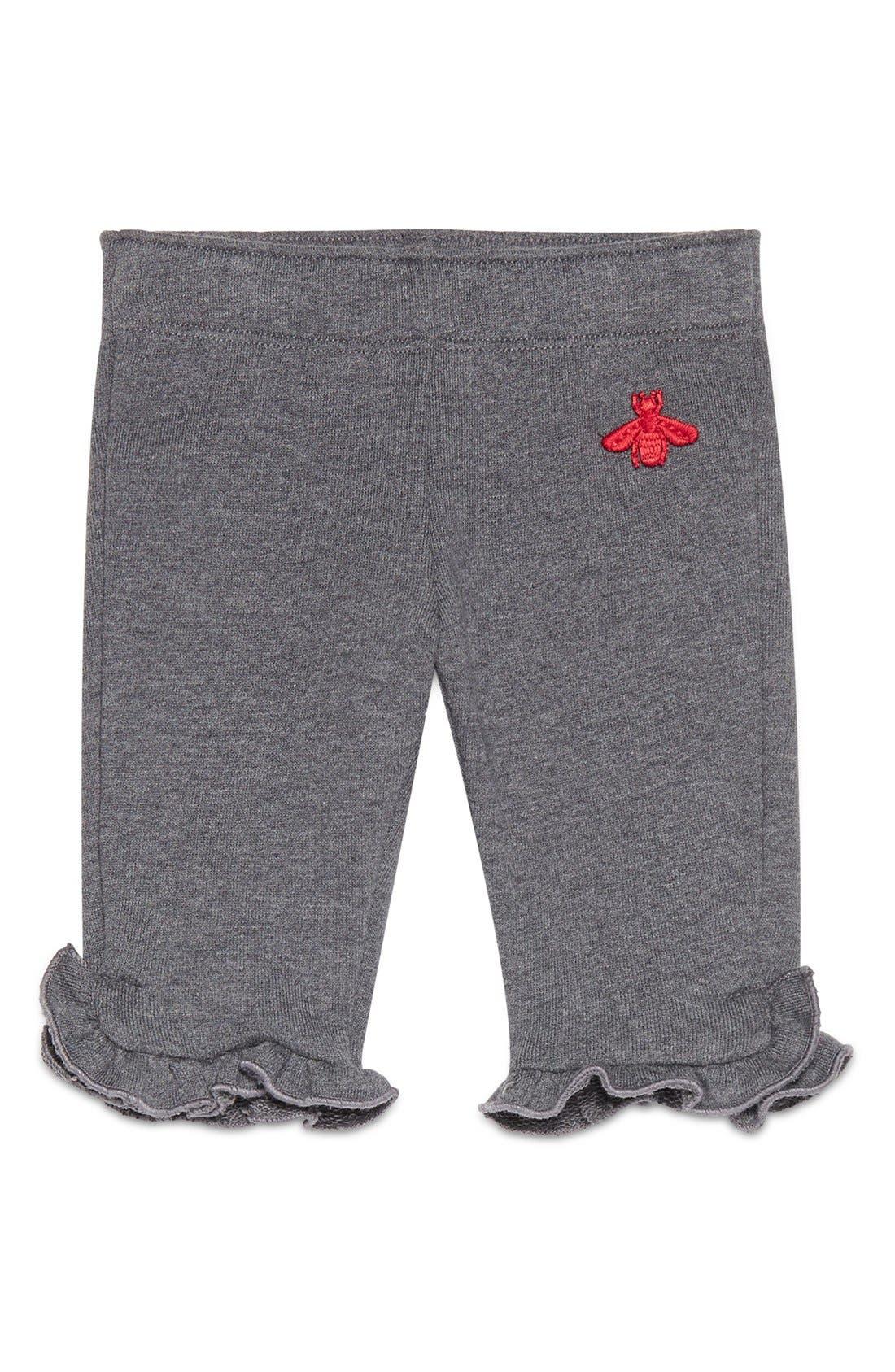 Bee Ruffle Hem Jogger Pants,                         Main,                         color, Grey/ Red