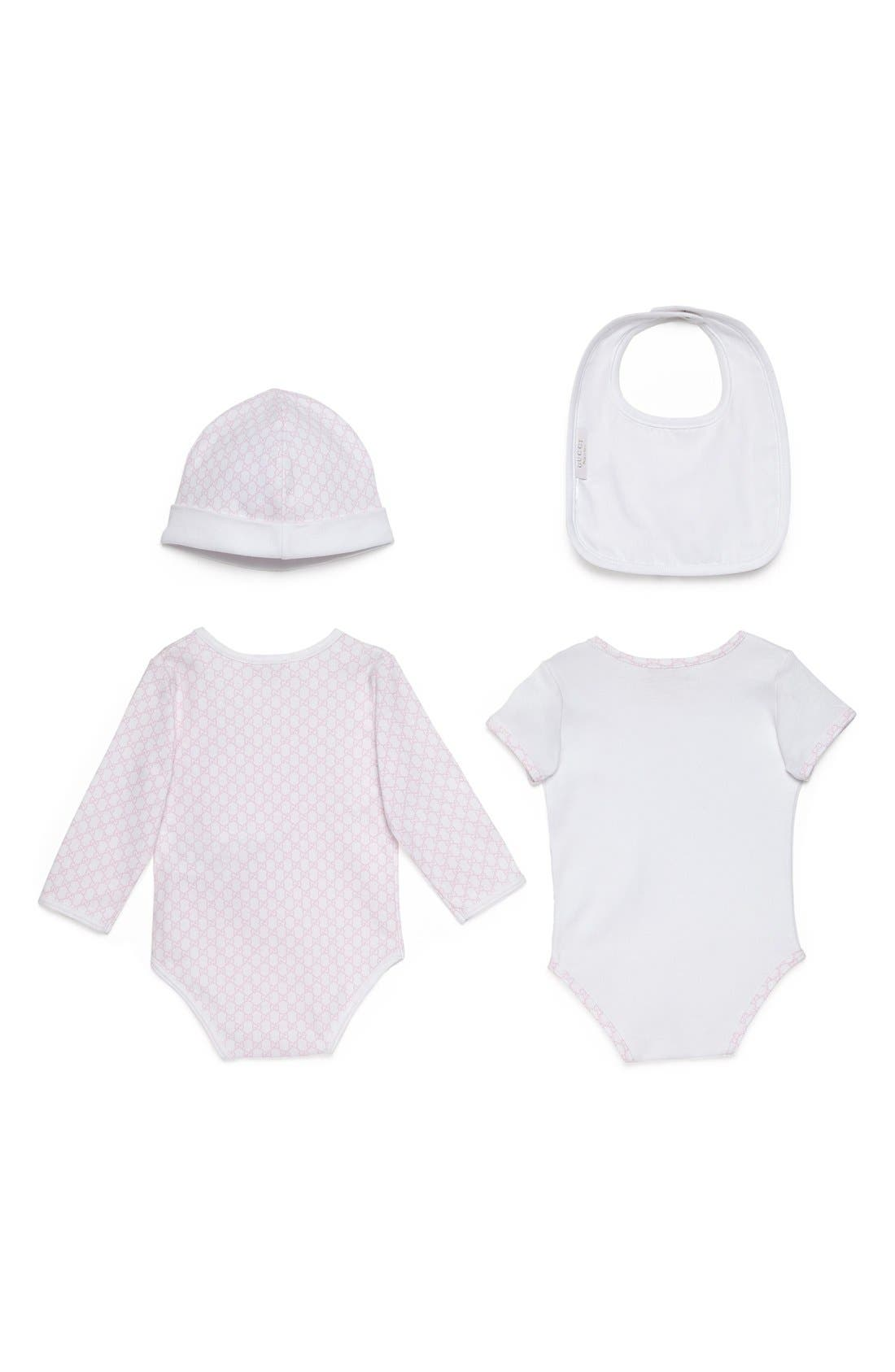 Alternate Image 2  - Gucci Short Sleeve Bodysuit, Long Sleeve Bodysuit, Hat & Bib Set (Baby)