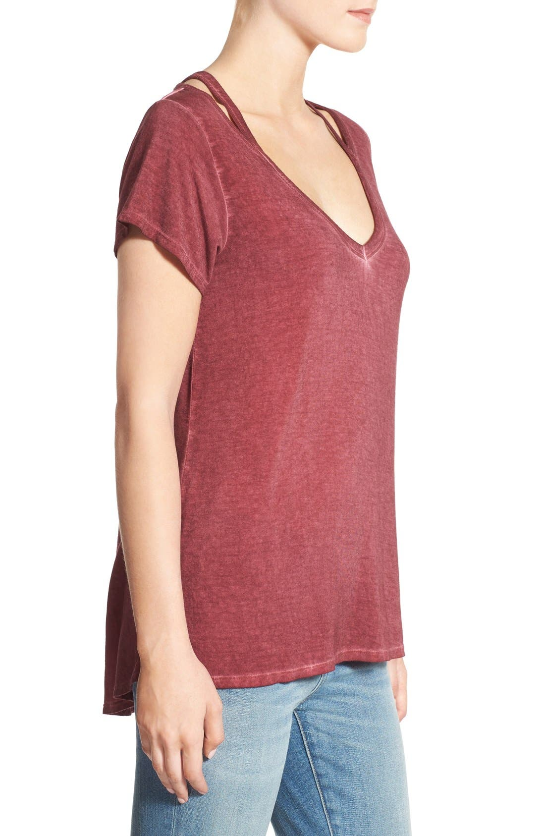 Oil Wash Cutout Tee,                             Alternate thumbnail 3, color,                             Red Cordovan