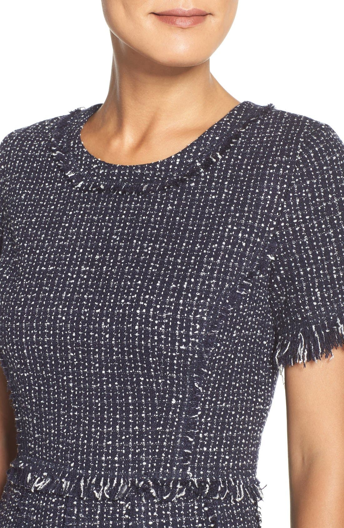 Tweed Fit & Flare Dress,                             Alternate thumbnail 5, color,                             Navy