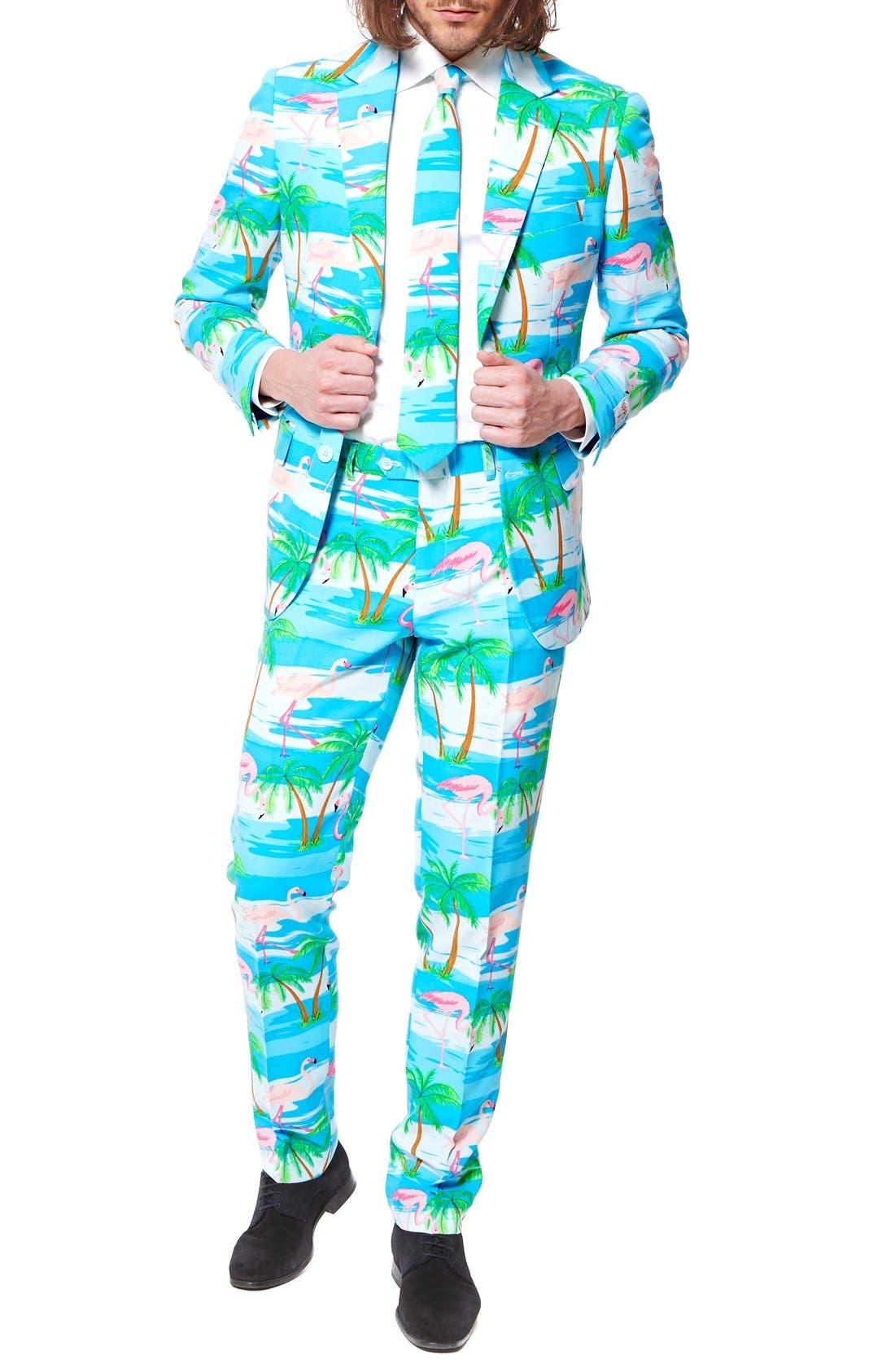 'Flaminguy' Trim Fit Two-Piece Suit with Tie,                         Main,                         color, Blue