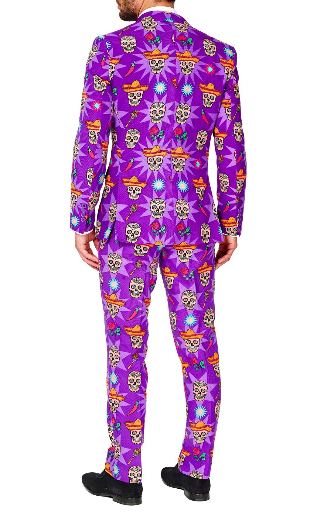 'El Muerto' Trim Fit Two-Piece Suit with Tie,                             Alternate thumbnail 2, color,                             Purple