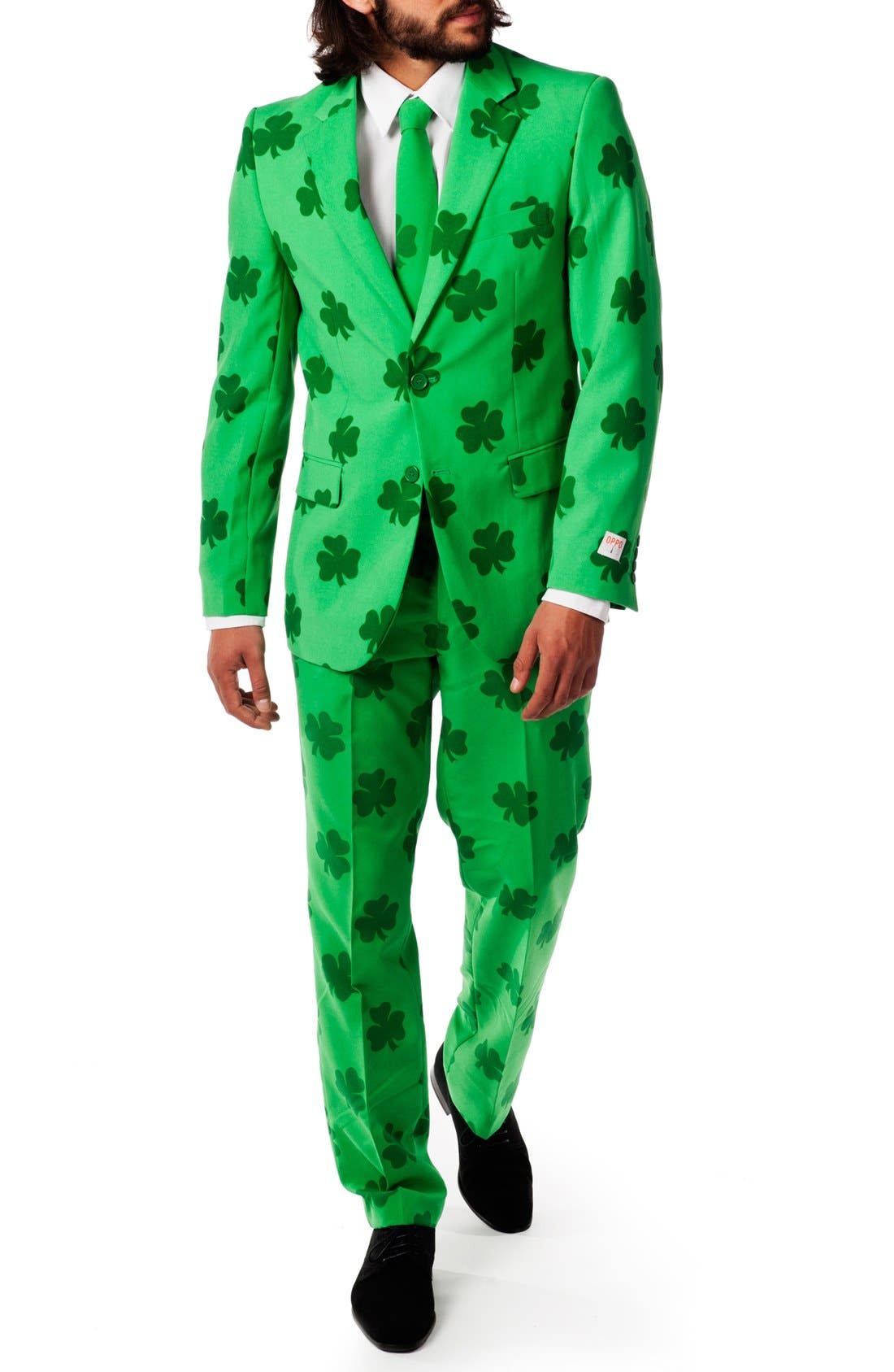 'Patrick' Trim Fit Two-Piece Suit with Tie,                             Alternate thumbnail 3, color,                             Green