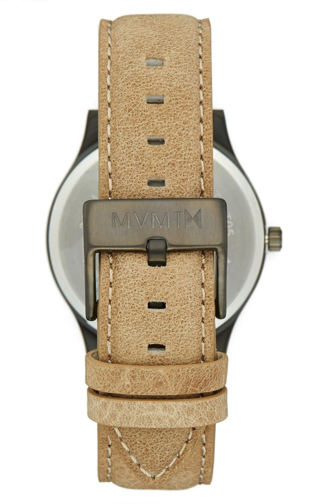 Leather Strap Watch, 40mm,                             Alternate thumbnail 2, color,                             Gunmetal/ Sandstone