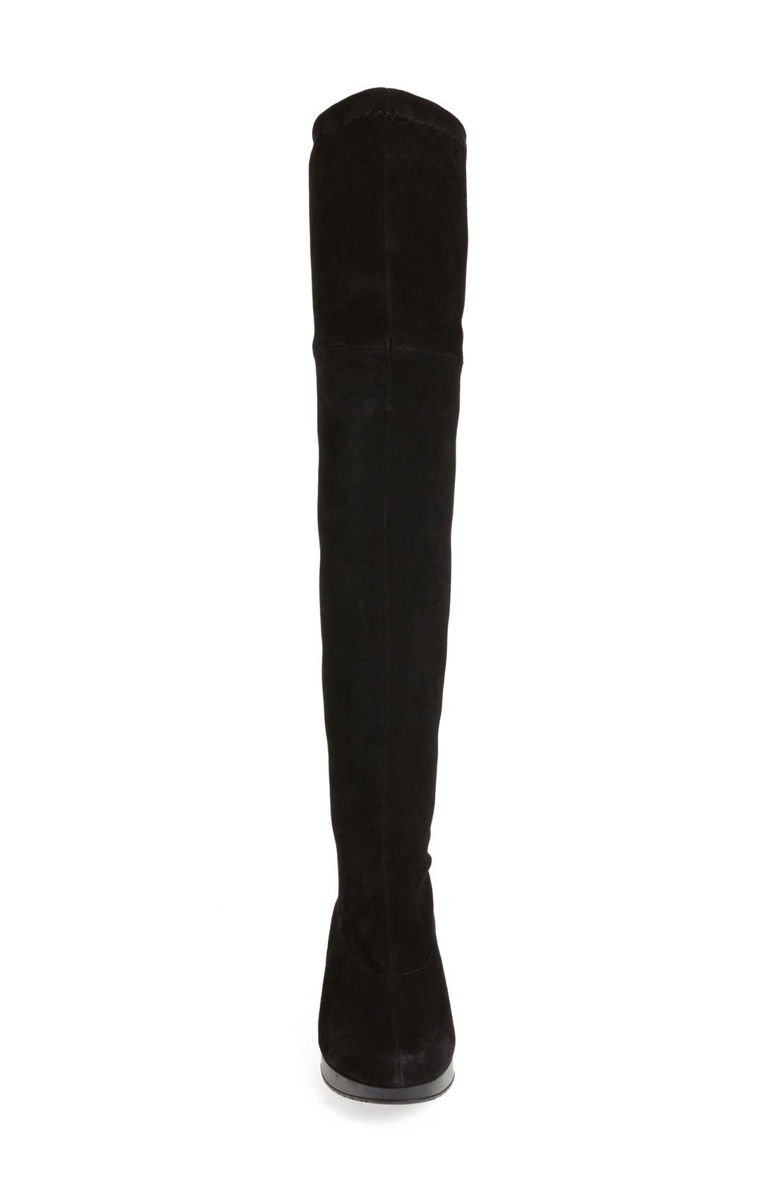 Wedge Over the Knee Boot,                             Alternate thumbnail 3, color,                             Black Suede