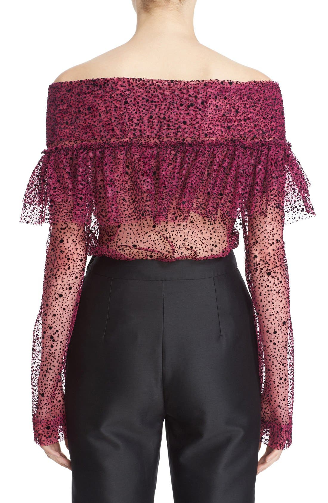 Alternate Image 2  - Isa Arfen Ruffle Knot Off the Shoulder Tulle Top