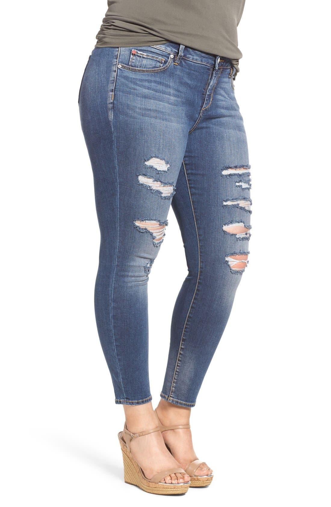 Alternate Image 4  - SLINK Jeans Ripped Stretch Ankle Skinny Jeans (Danika) (Plus Size)