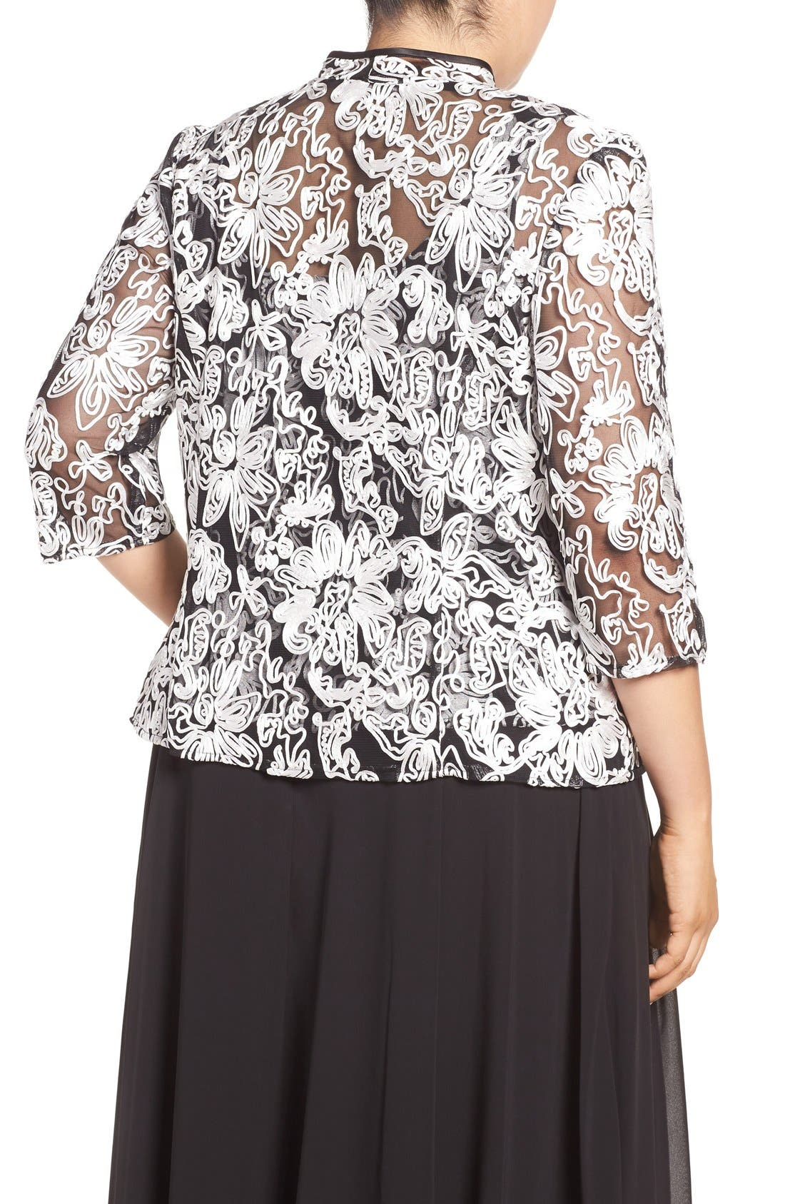 Alternate Image 2  - Alex Evenings Embroidered Twinset (Plus Size)
