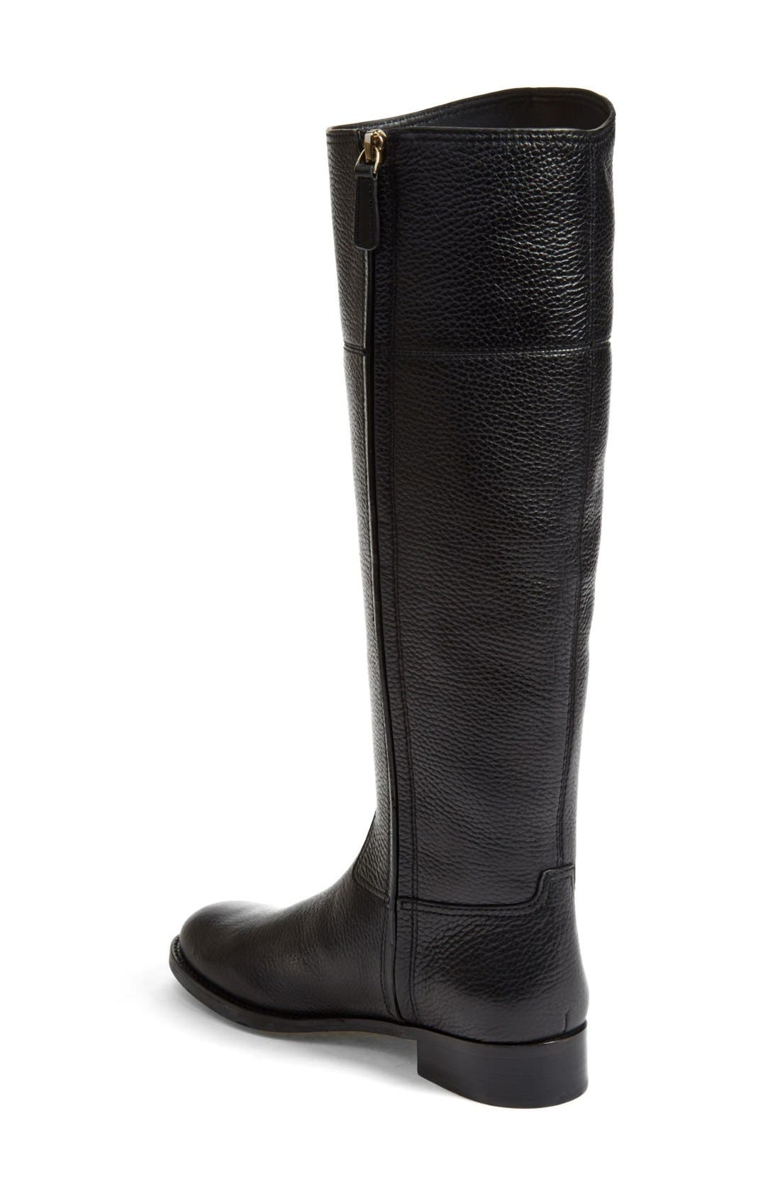 'Jolie' Riding Boot,                             Alternate thumbnail 2, color,                             Black Tumbled Leather