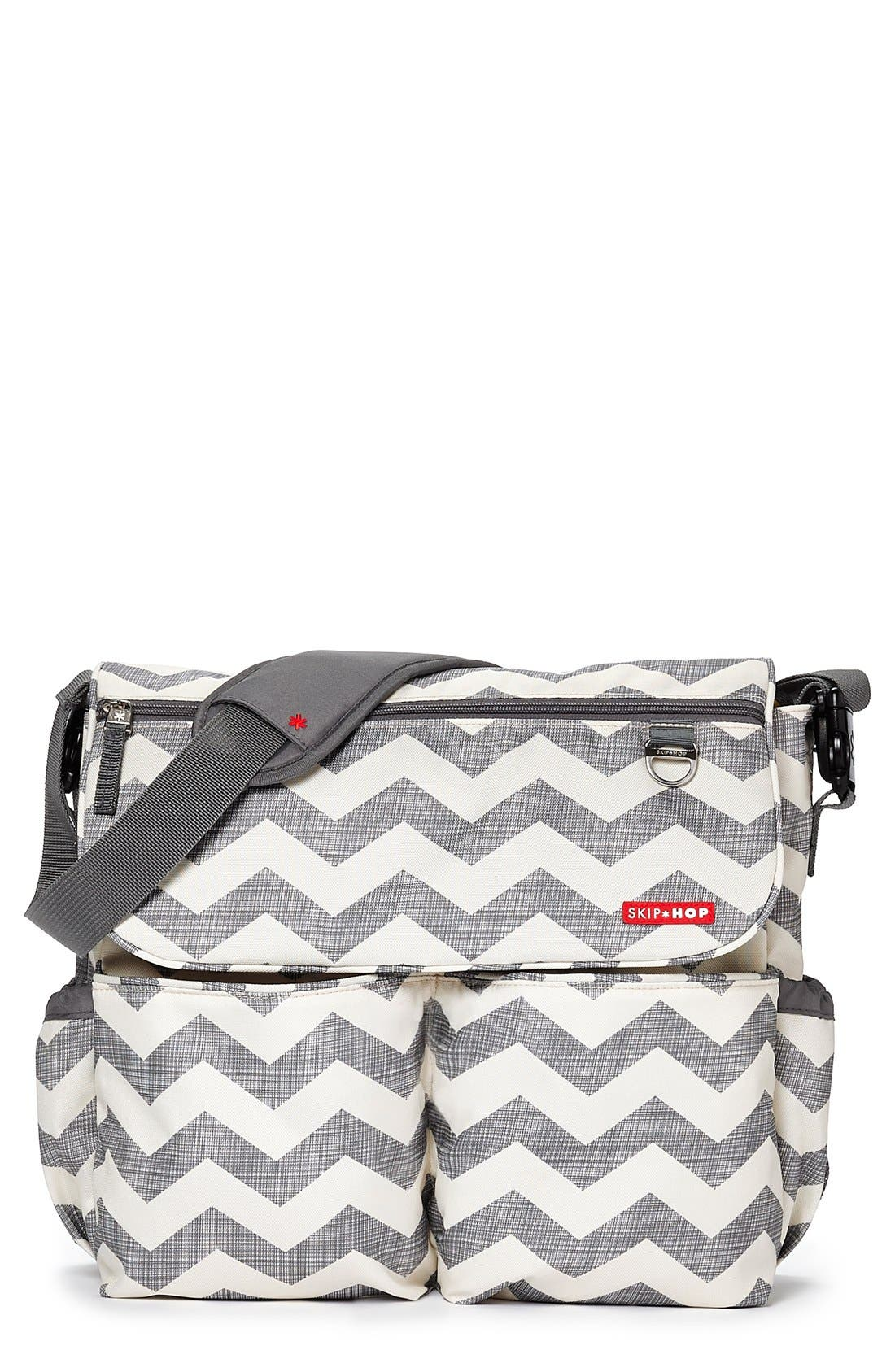 'Dash Signature' Messenger Diaper Bag,                             Main thumbnail 1, color,                             Grey