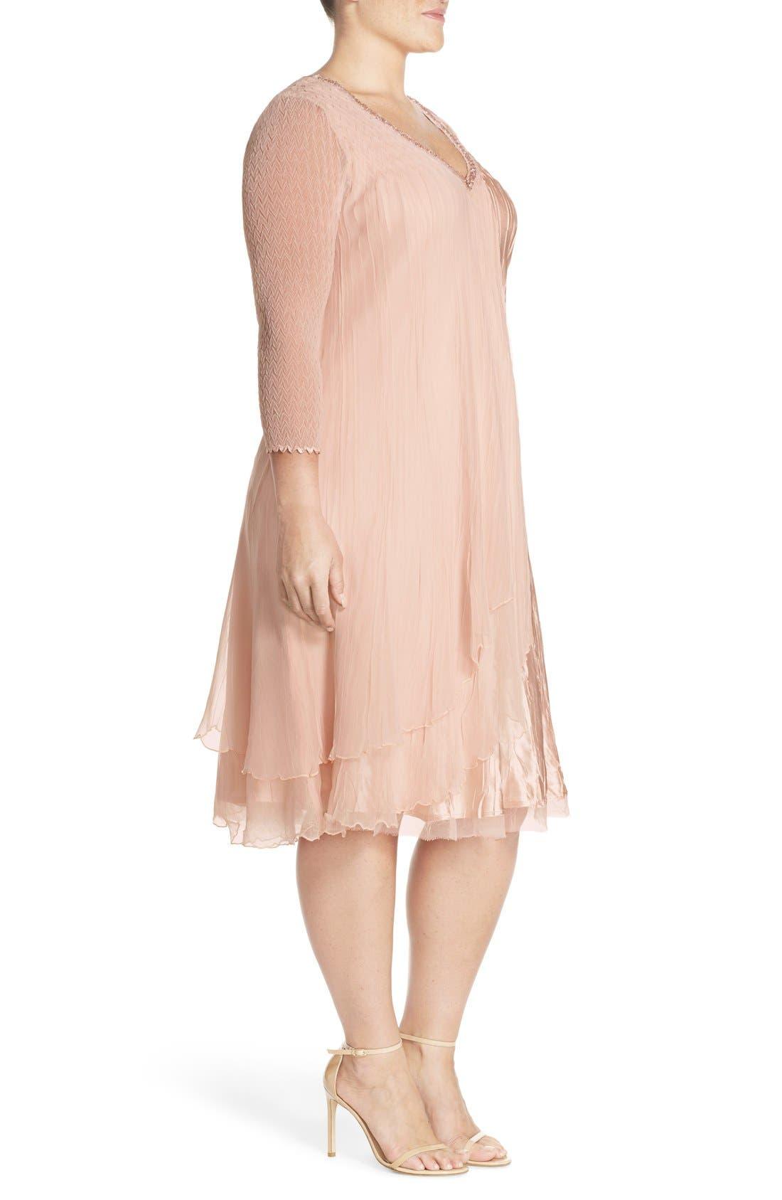 V-Neck Tiered Chiffon & Charmeuse A-Line Dress,                             Alternate thumbnail 3, color,                             Vintage Rose