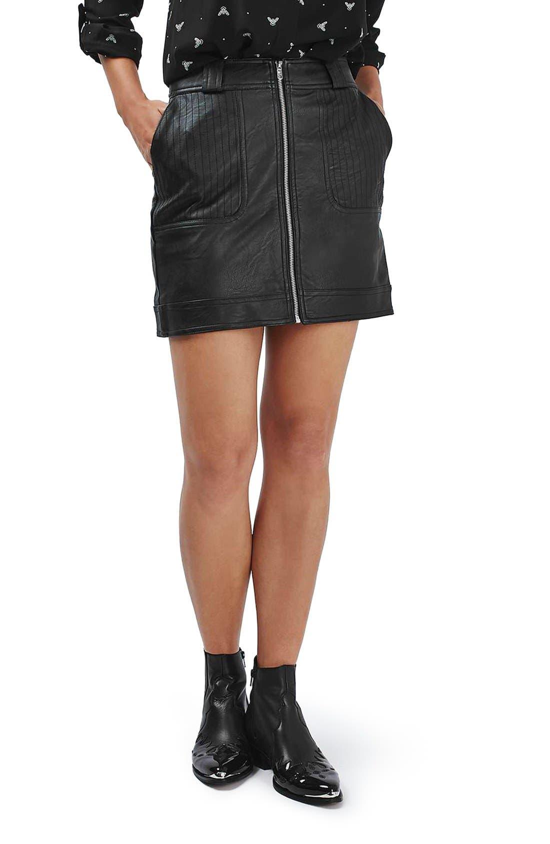 Main Image - Topshop Stitch Detail Faux Leather Miniskirt