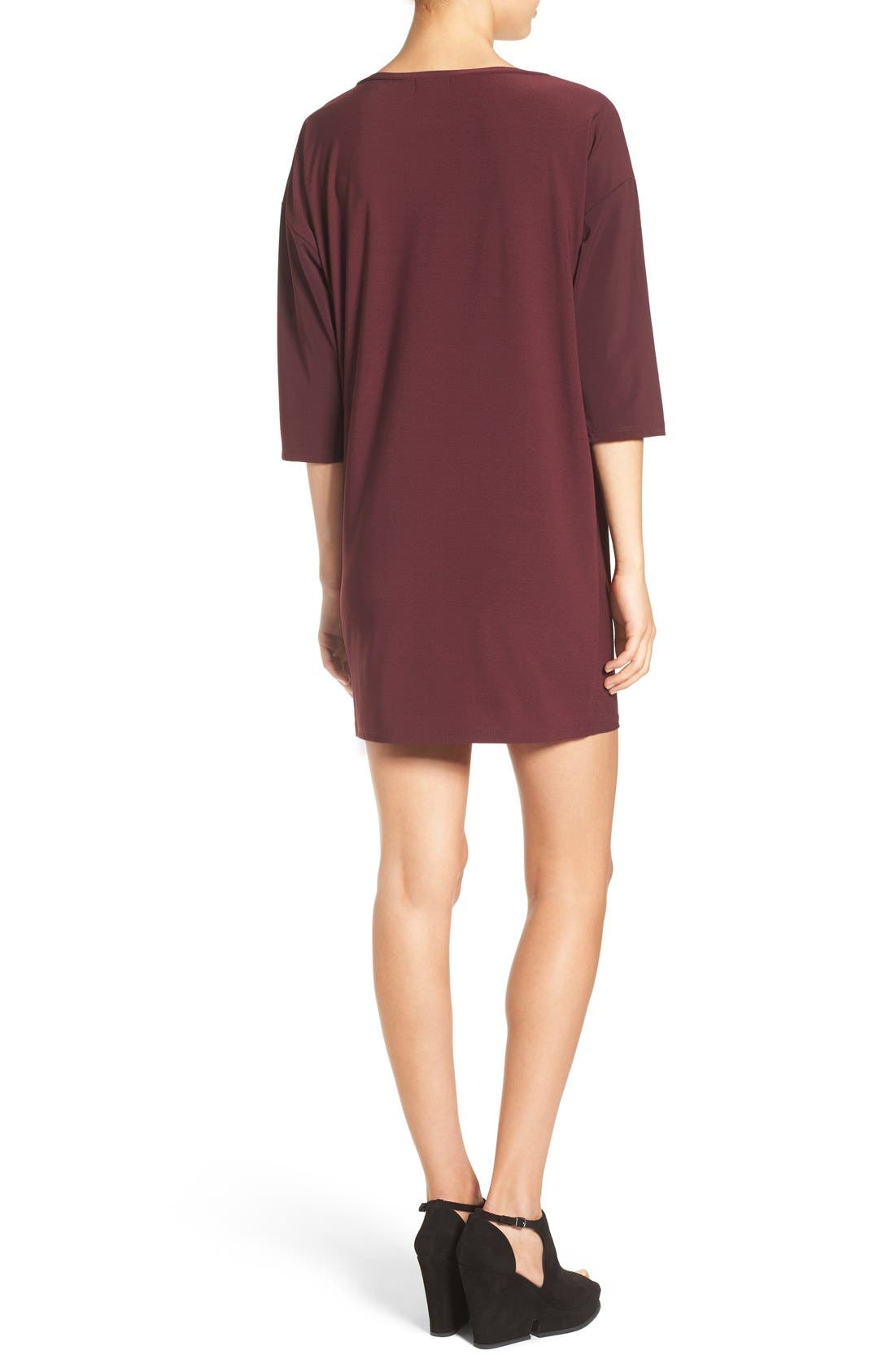 Dolman Dress,                             Alternate thumbnail 2, color,                             Burgundy Stem